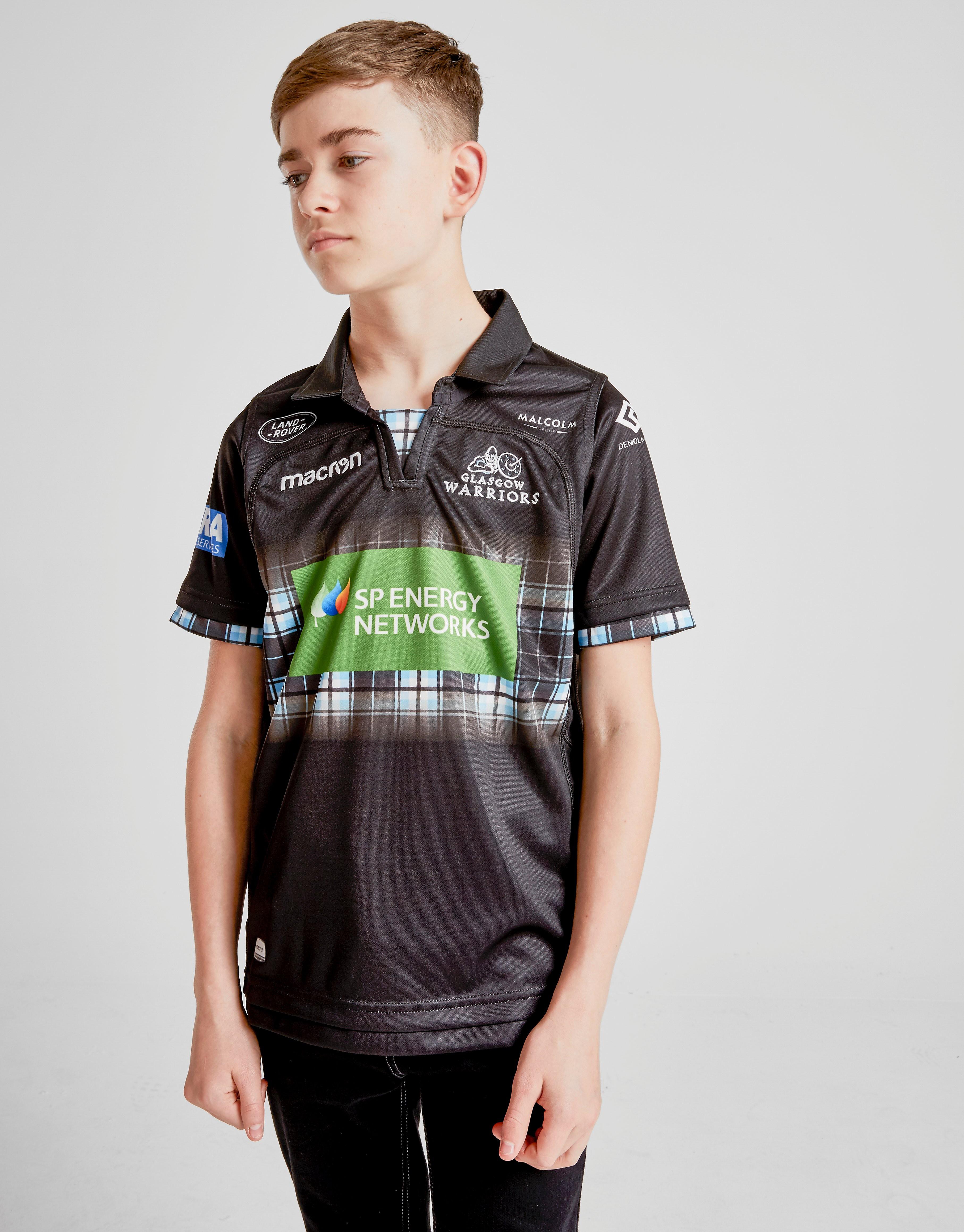 Macron Glasgow Warriors 2018/19 Home Shirt Junior - Zwart - Kind