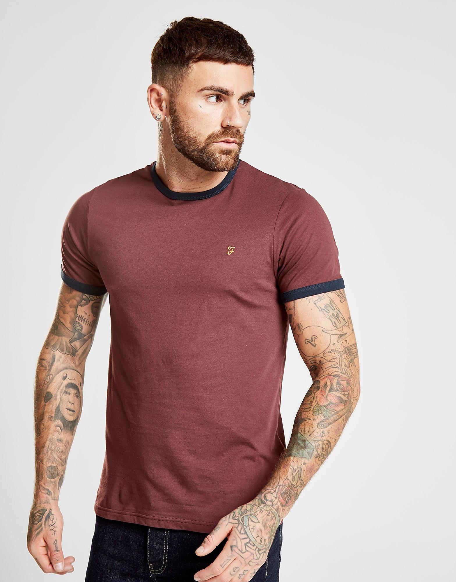 Farah Ringer T-Shirt Heren - Burgundy/Navy - Heren