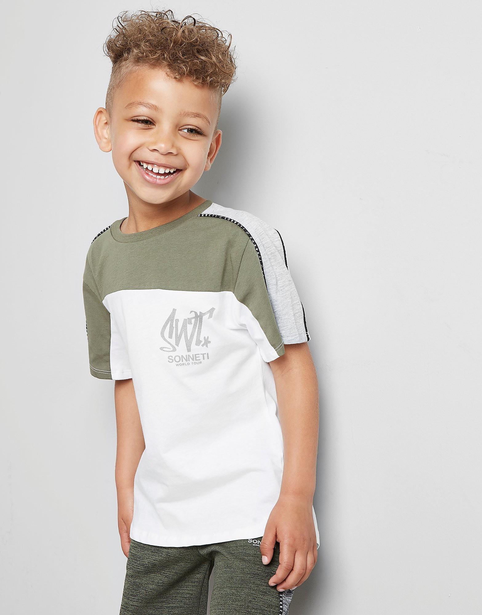 Sonneti Mini Como Poly Mix T-Shirt Kinderen  - Khaki/White - Kind