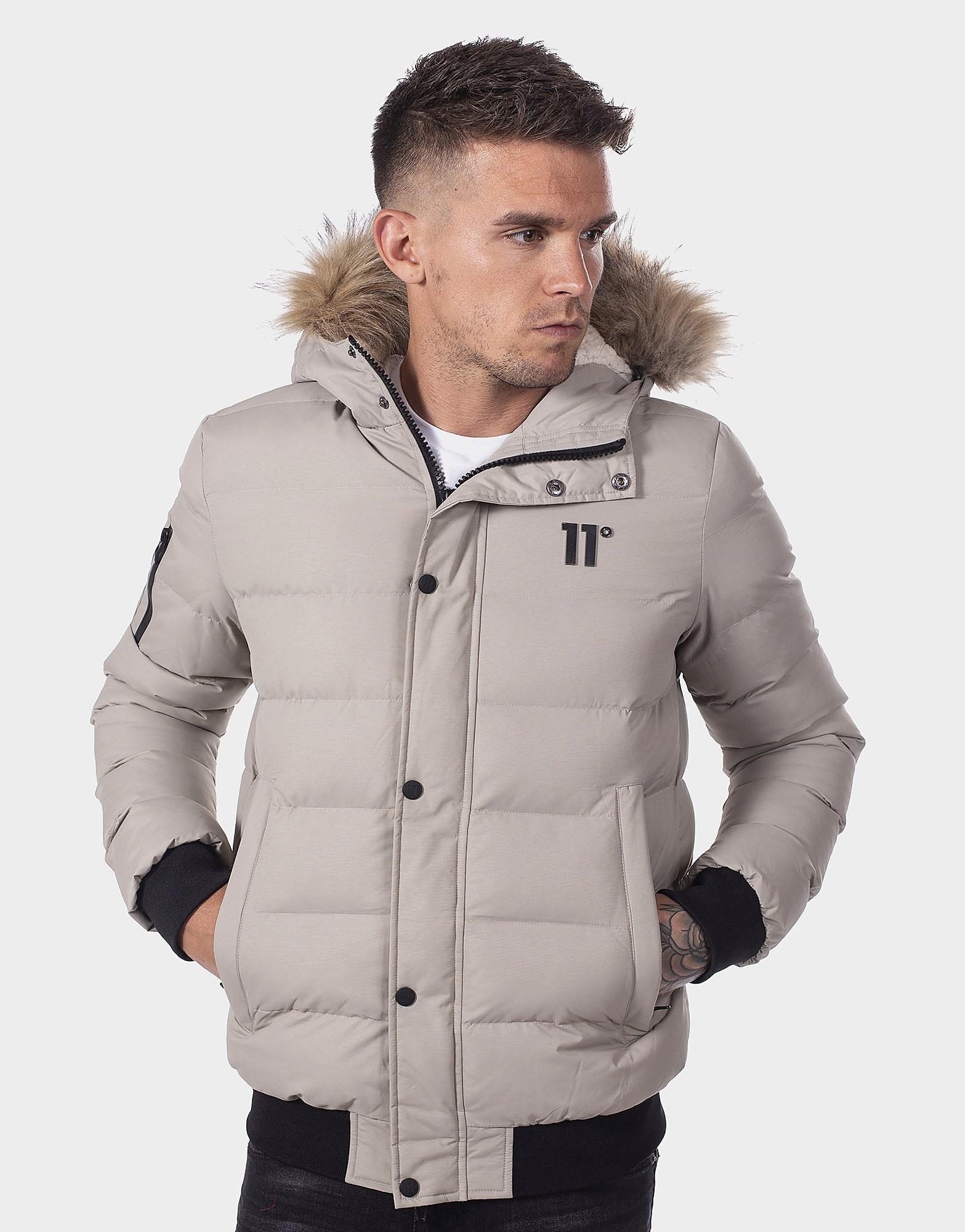 11 Degrees Fur Trim Bubble Jacket - Grau - Mens, Grau