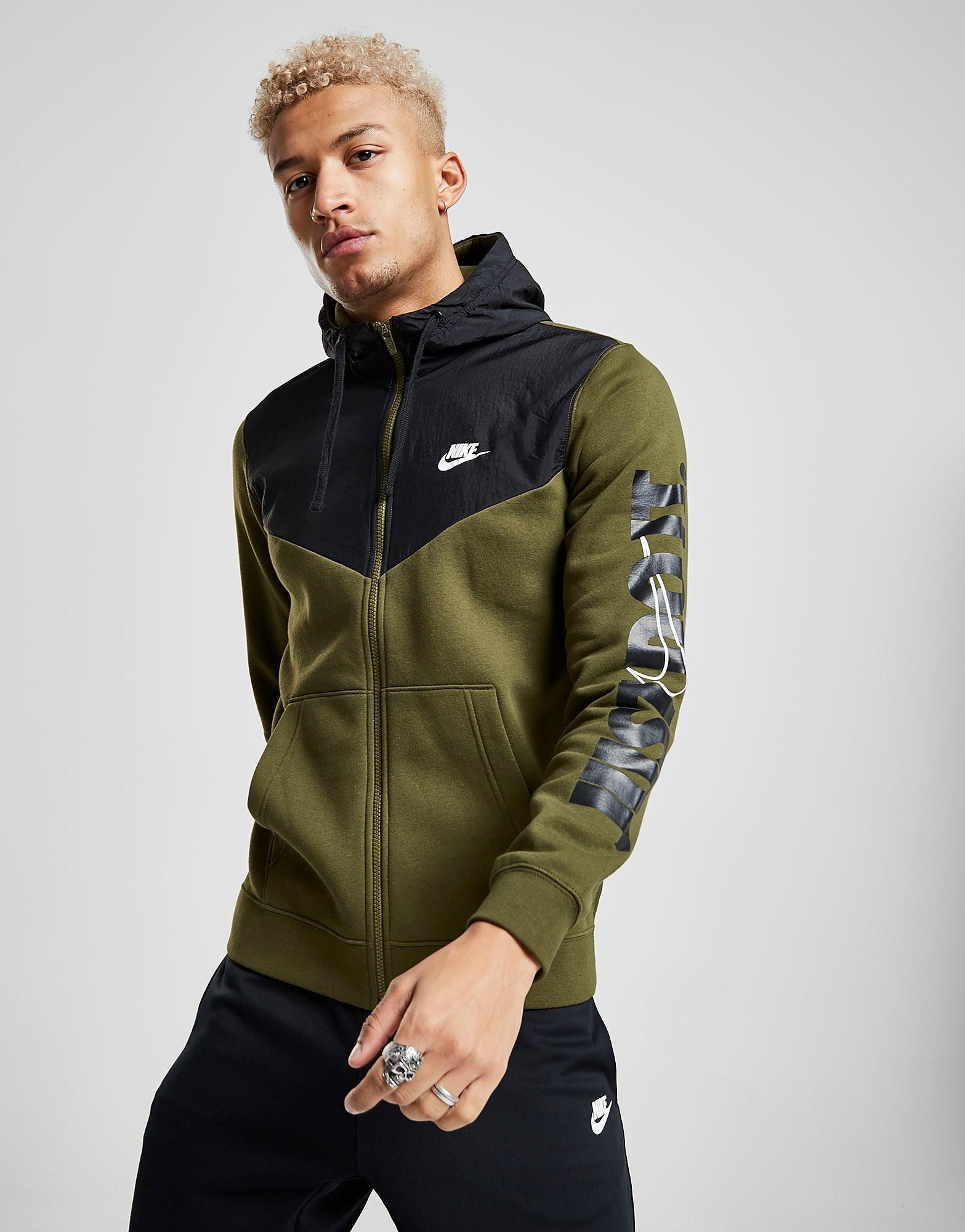 Nike Just Do It Sleeve Logo Hoodie Heren - Groen - Heren