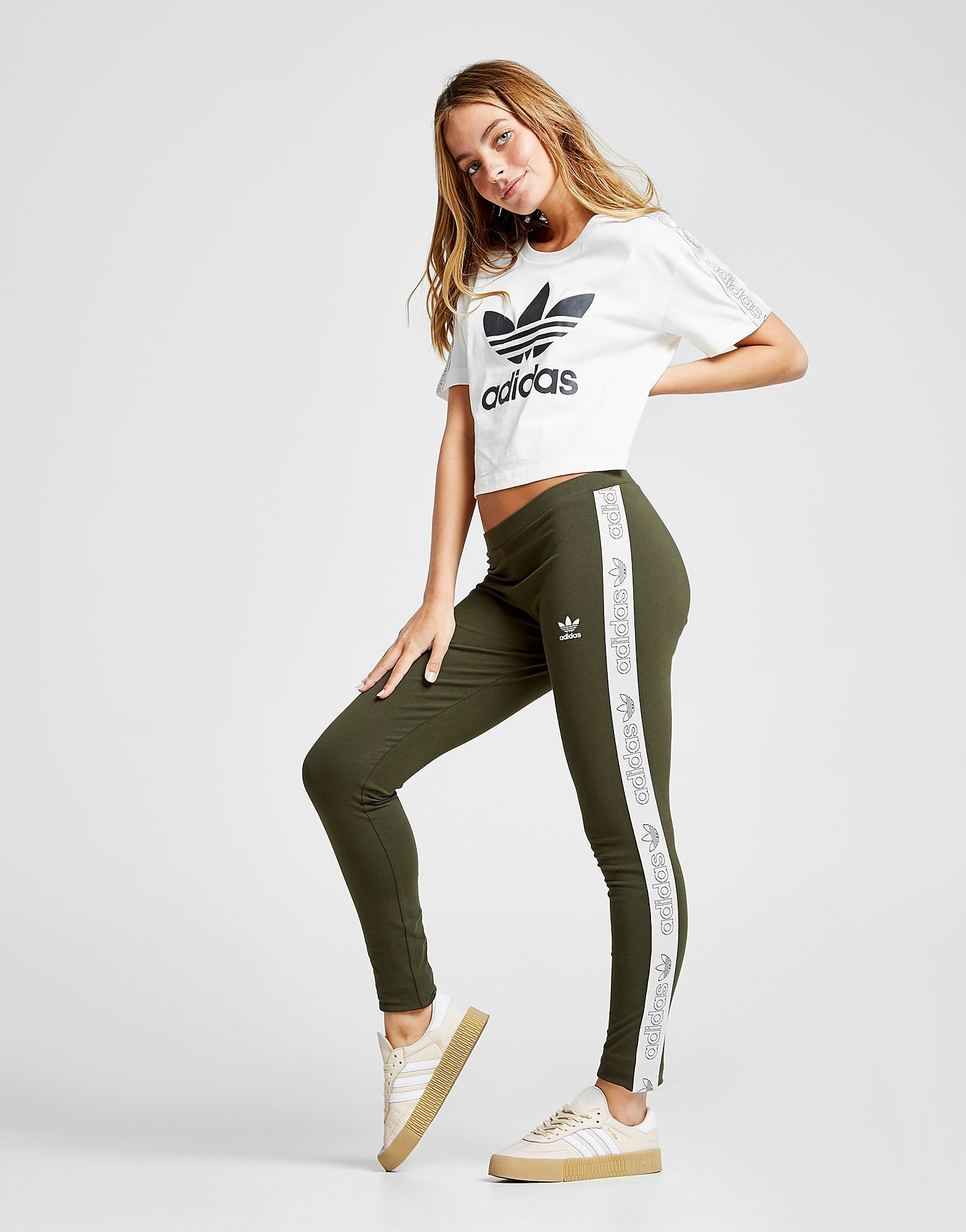 adidas Originals Tape Leggings - Only at JD - Cargo - Womens, Cargo