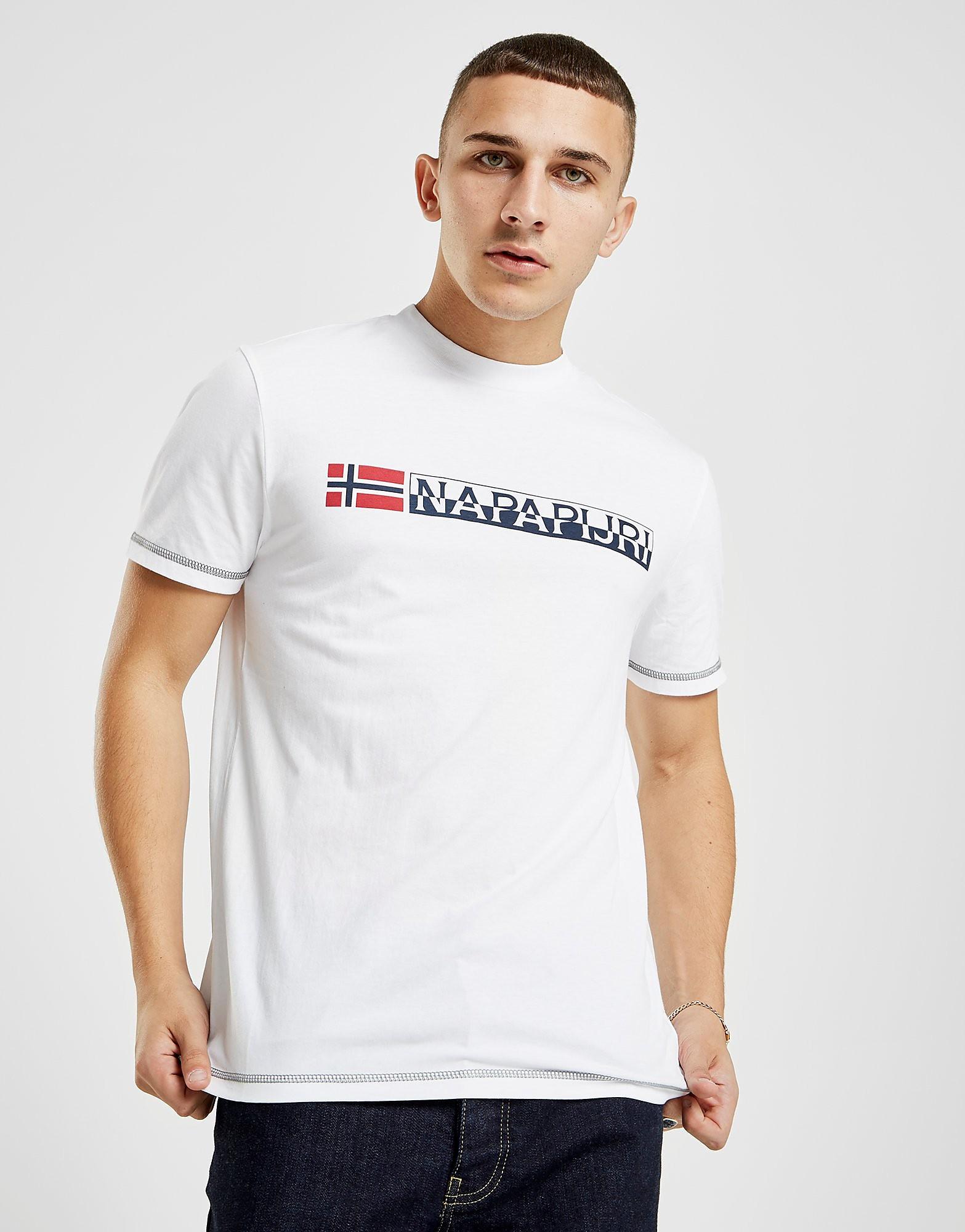 Napapijri Short Sleeve Logo T-Shirt Heren - alleen bij JD - Wit - Heren
