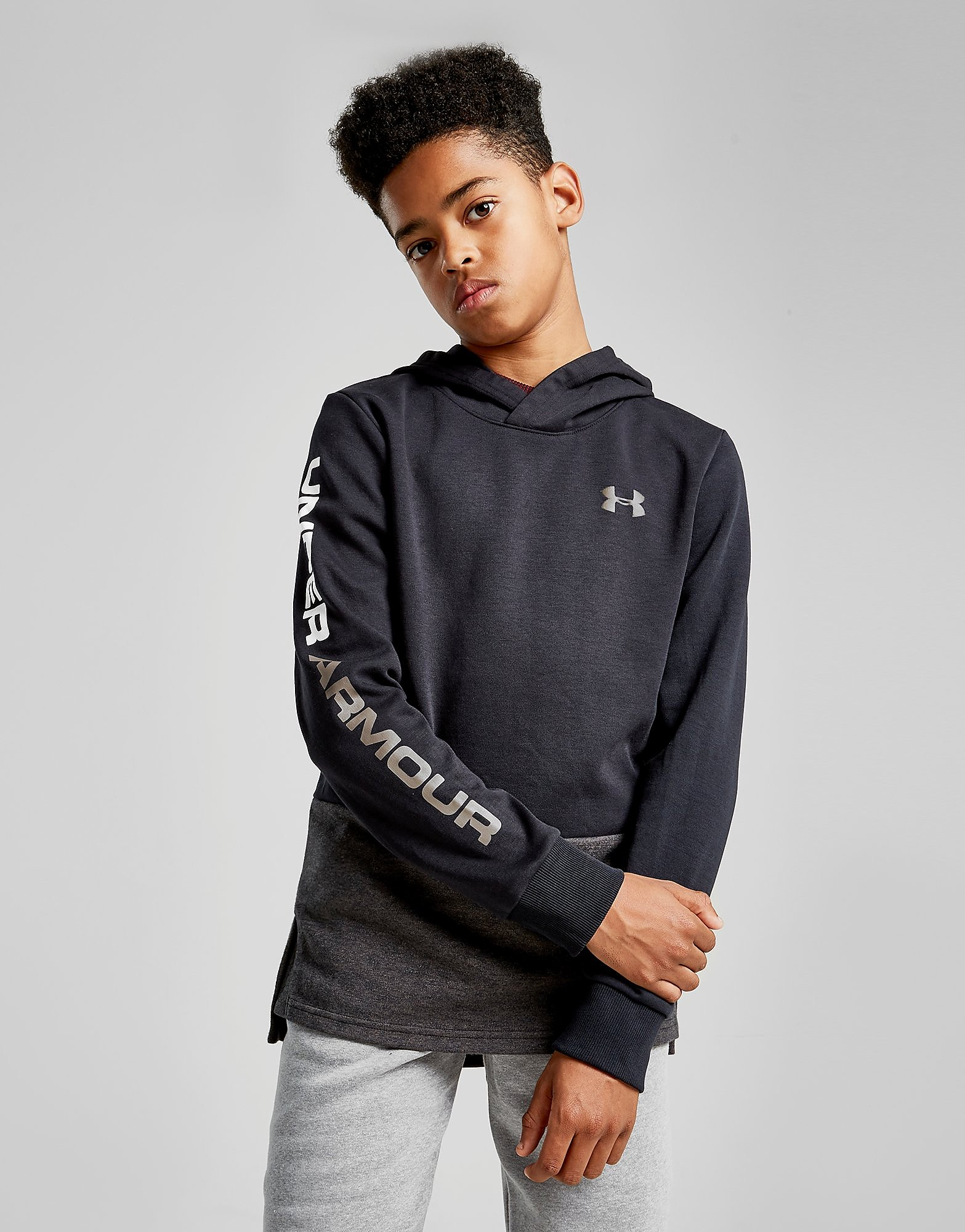 Under Armour Double Knit Overhead Hoodie Junior - Zwart - Kind