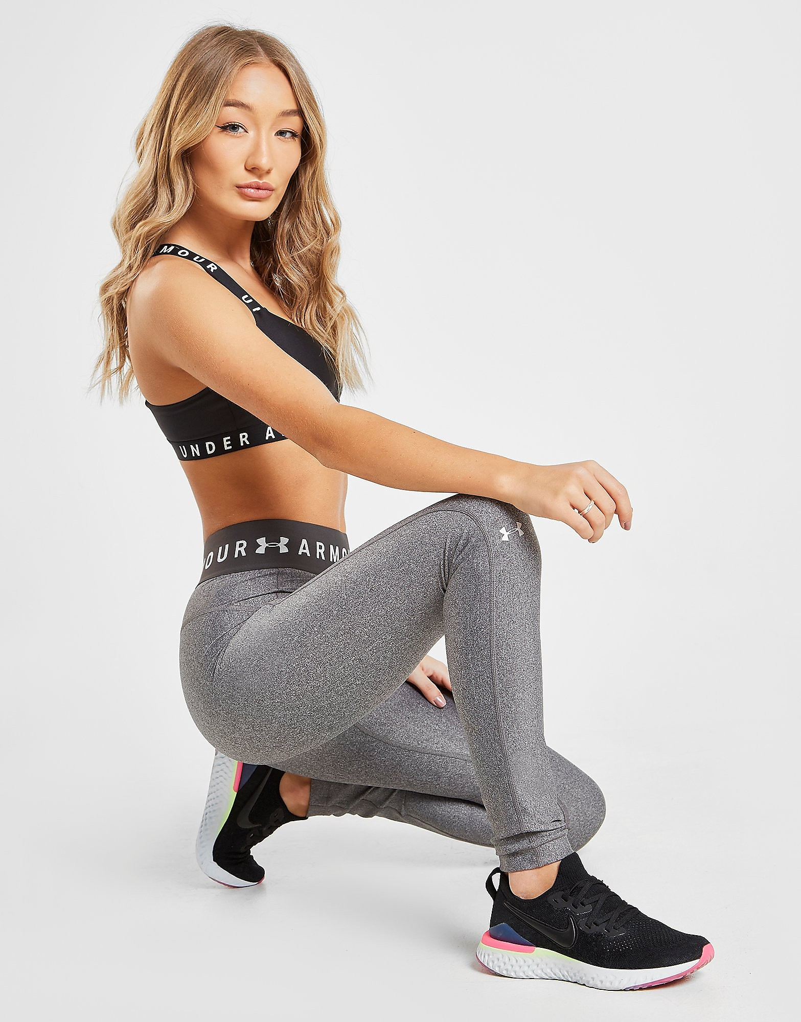 Under Armour Branded Waistband Leggings - Only at JD - Grau - Womens, Grau