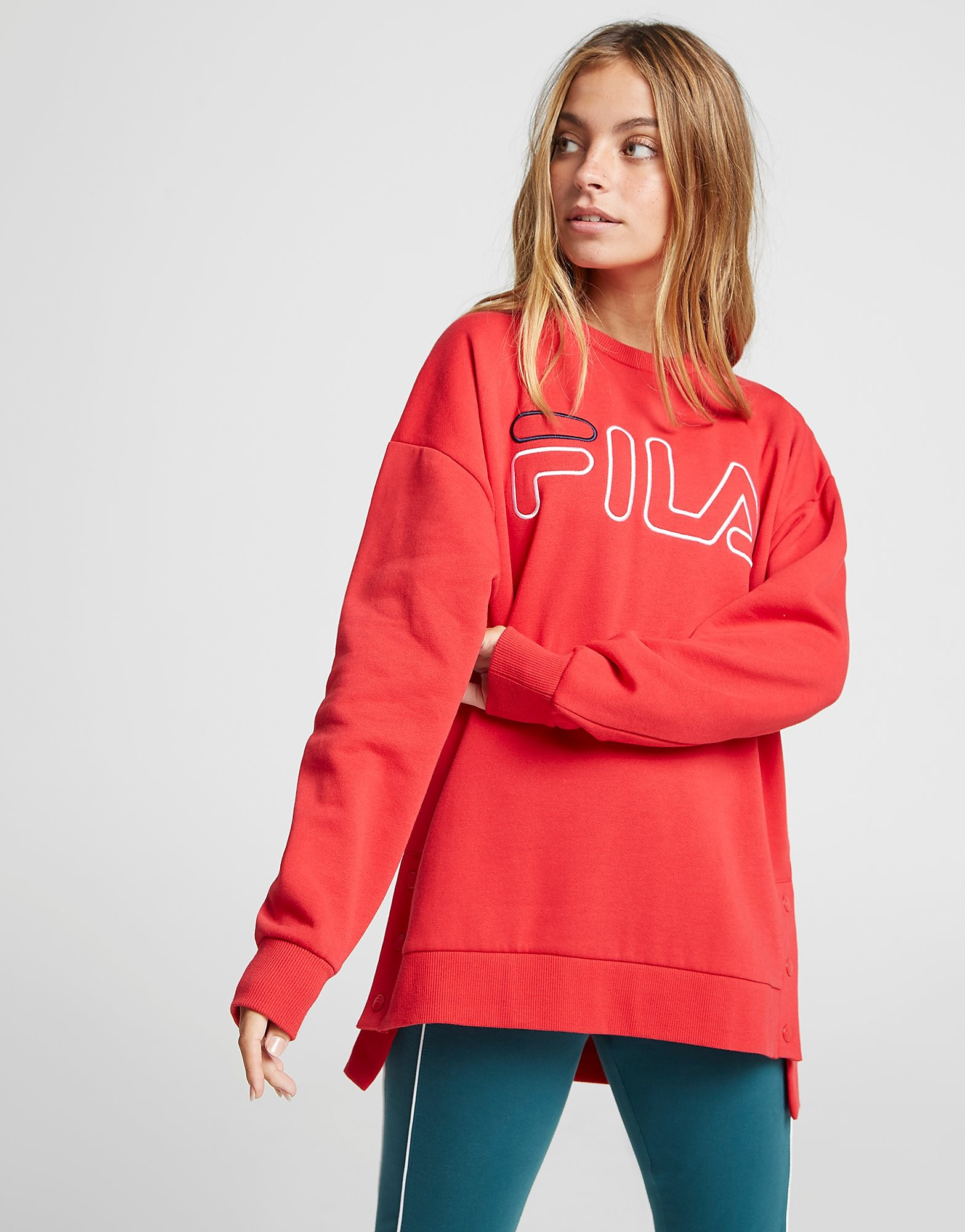 Fila Logo Popper Crew Sweatshirt - Only at JD - Rot - Womens, Rot