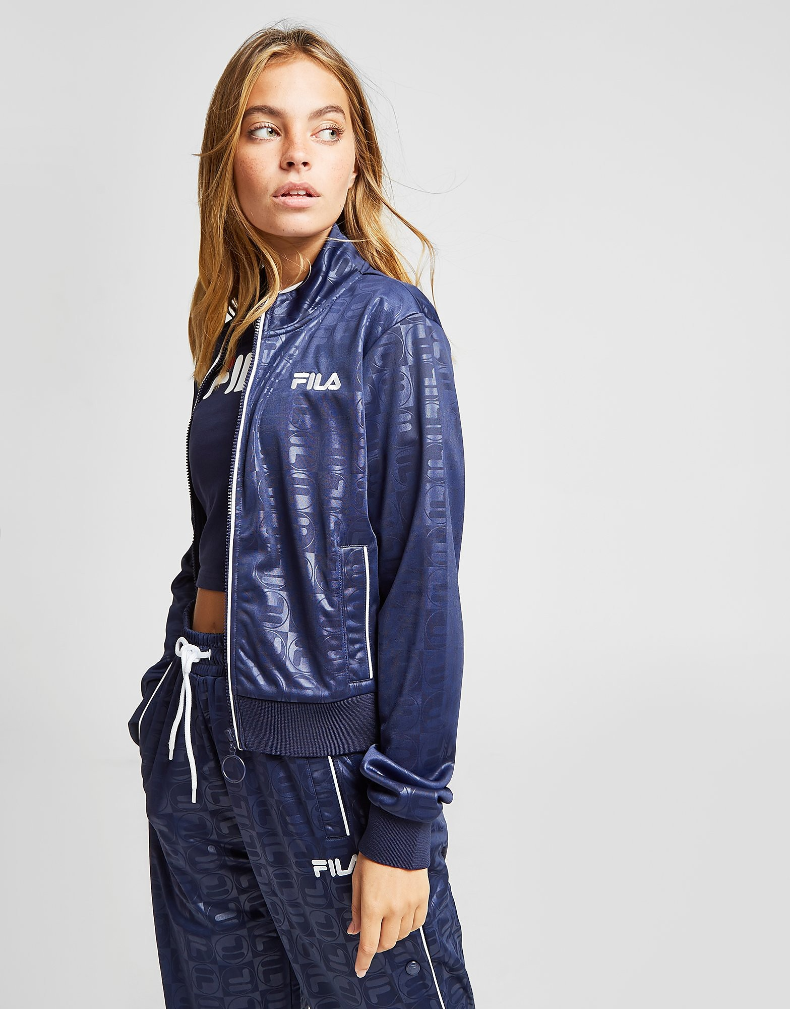 Fila All Over Print Track Top Dames - alleen bij JD - Blauw - Dames