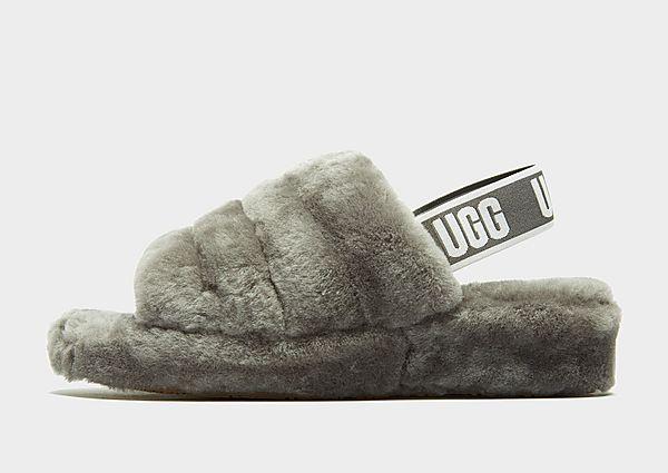 UGG chanclas Fluff Yeah Logo para mujer, Grey