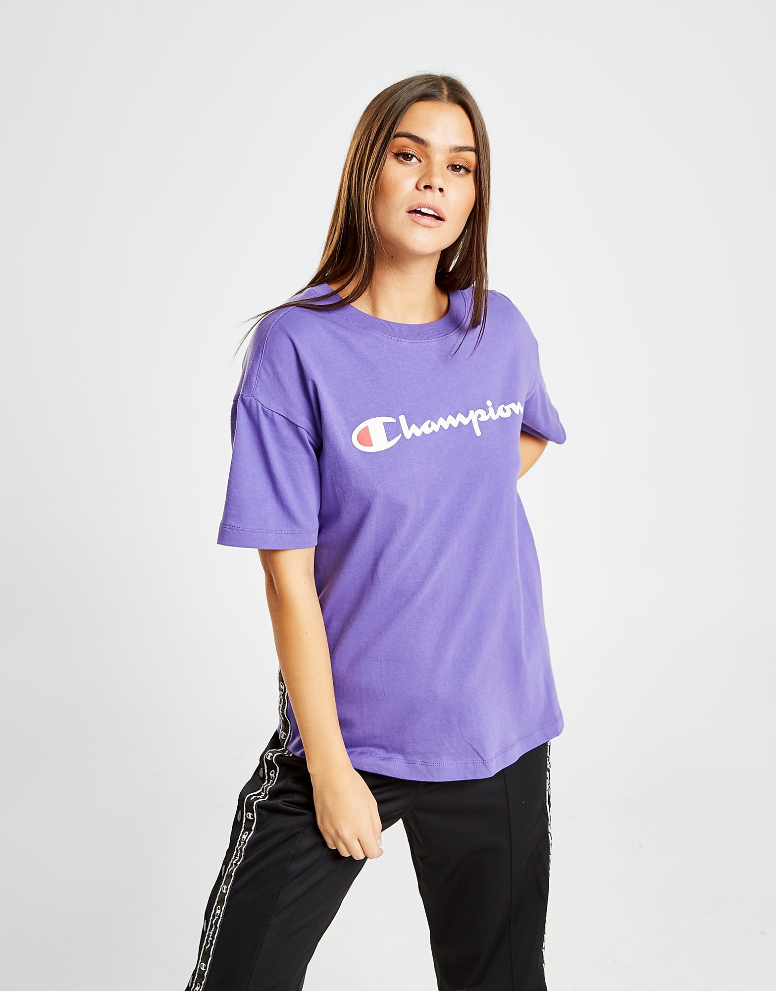 Champion Tape Logo Boyfriend T-Shirt Dames - alleen bij JD - Paars - Dames