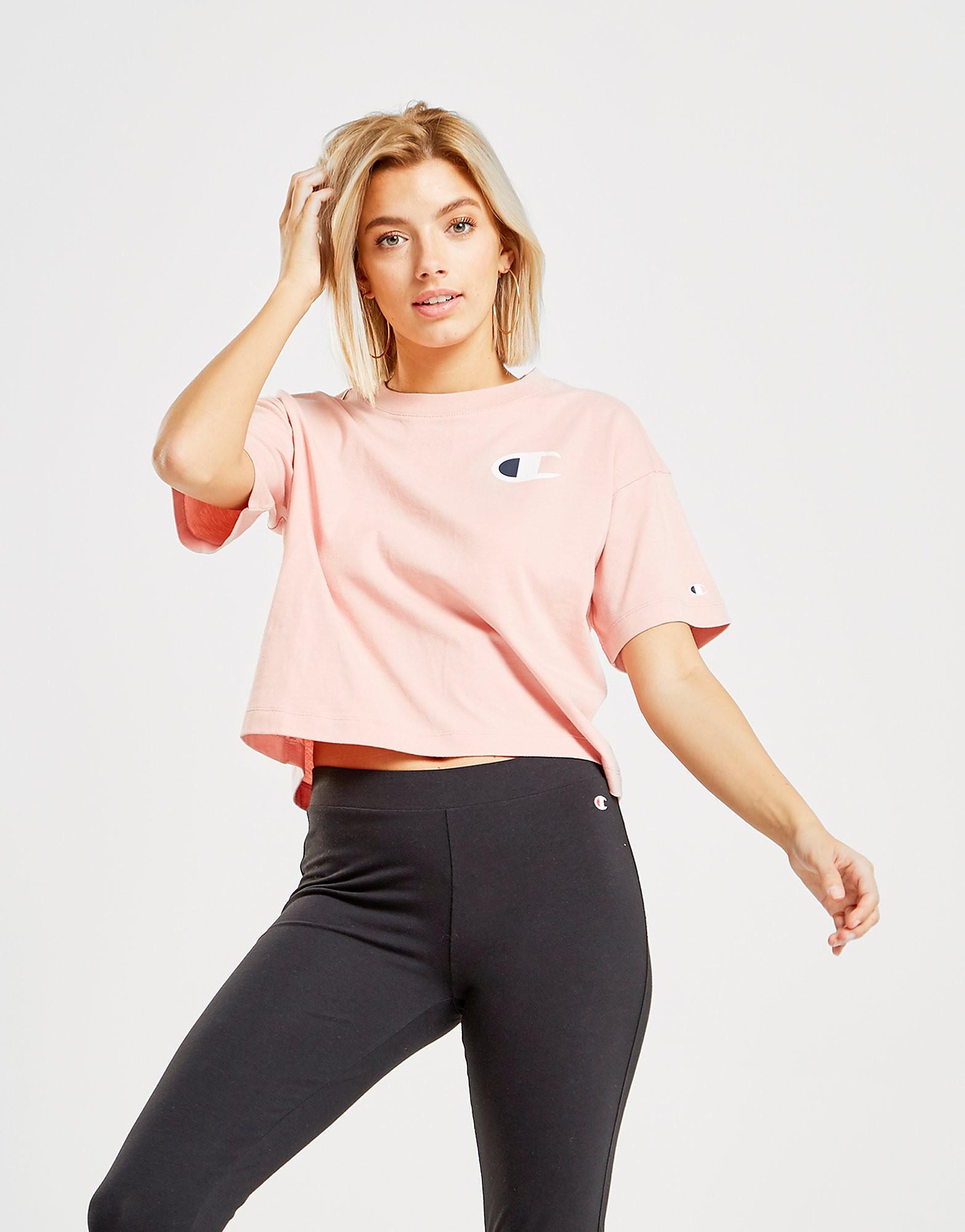 Champion Big C Logo Crop T-Shirt Dames - alleen bij JD - Roze - Dames