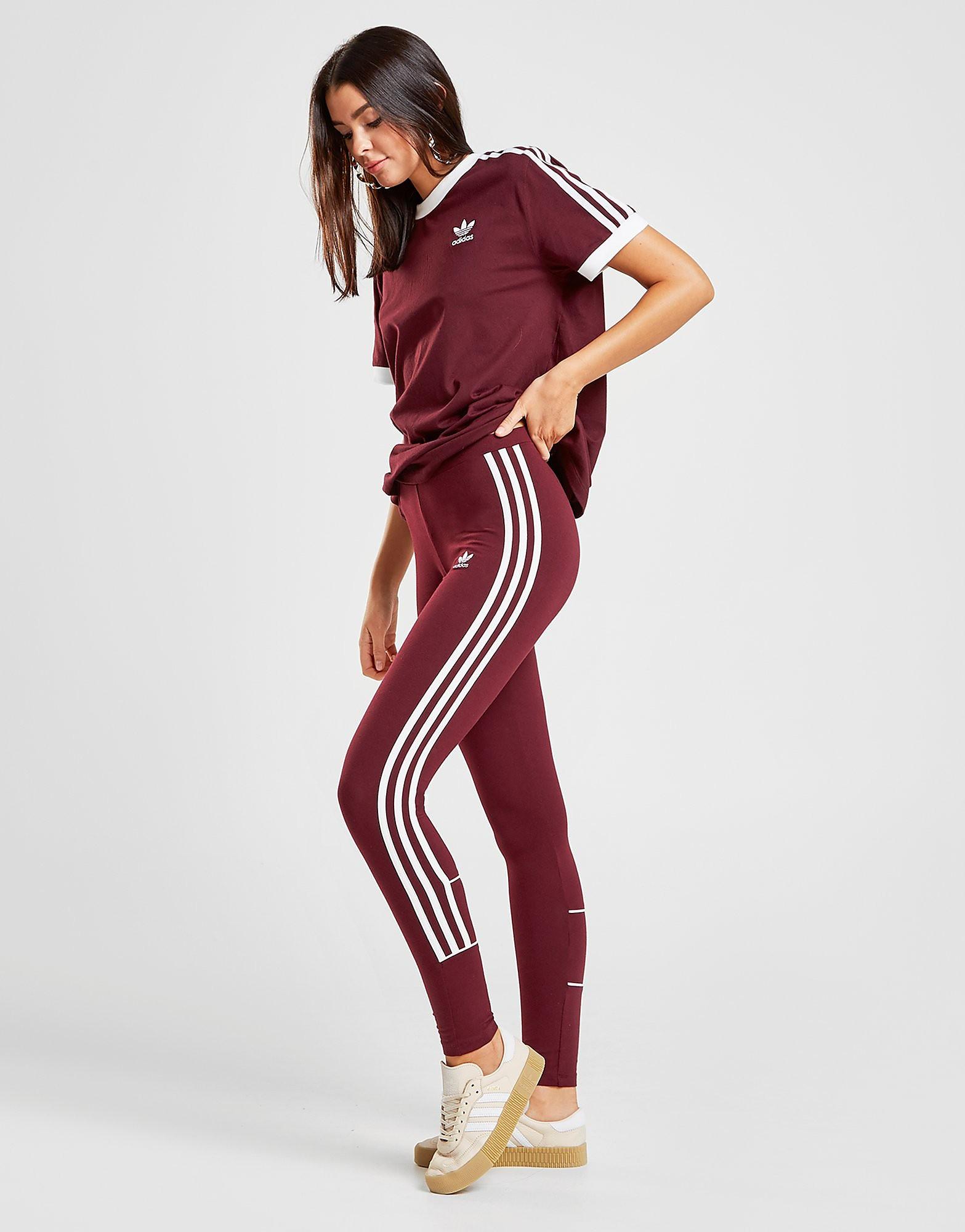 adidas Originals 3-Stripes Piping Leggings Dames - alleen bij JD - Maroon/White - Dames