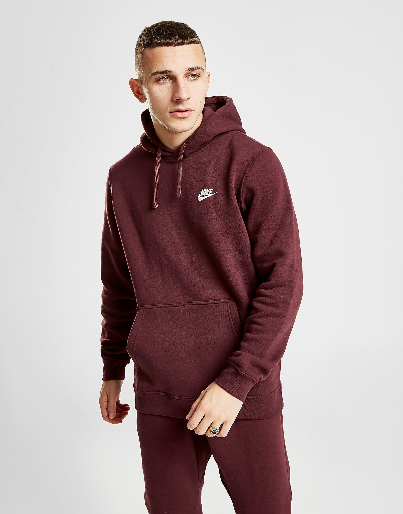 Nike Foundation Overhead Hoodie Heren - Burgundy/White - Heren