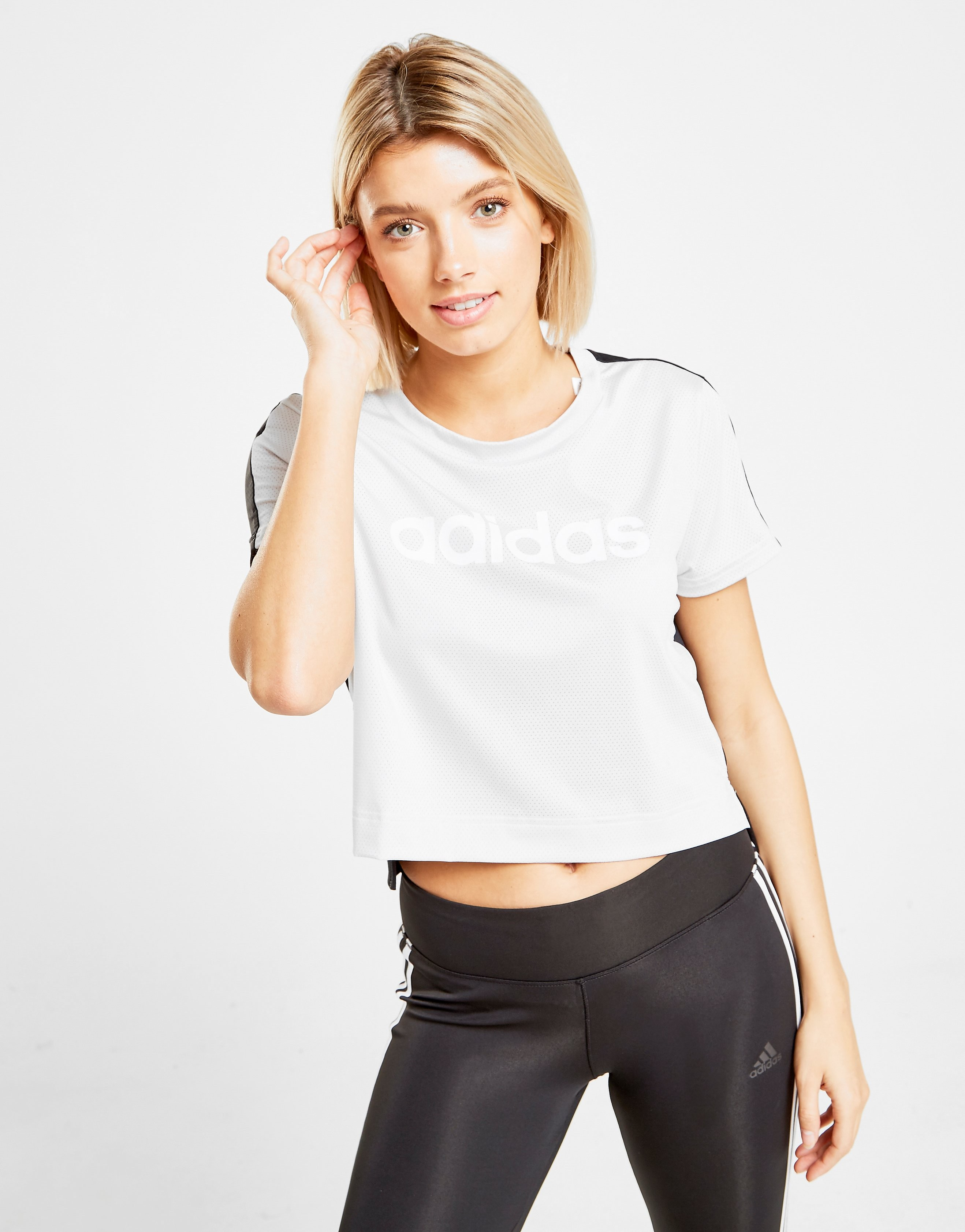 adidas Linear Crop T-Shirt - Wit - Dames