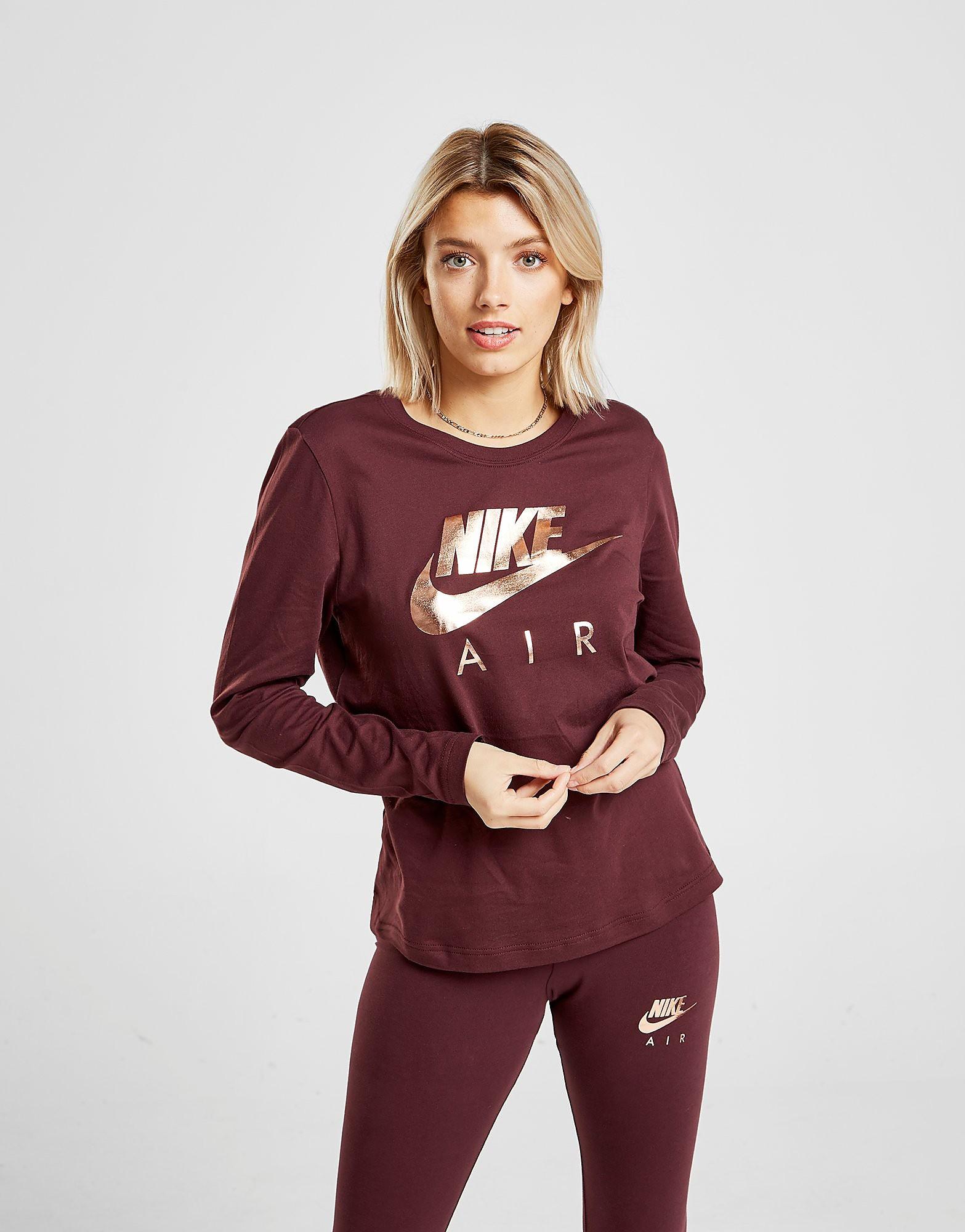 Nike Air Long Sleeve T-Shirt Dames - alleen bij JD - Burgundy/Rose Gold - Dames