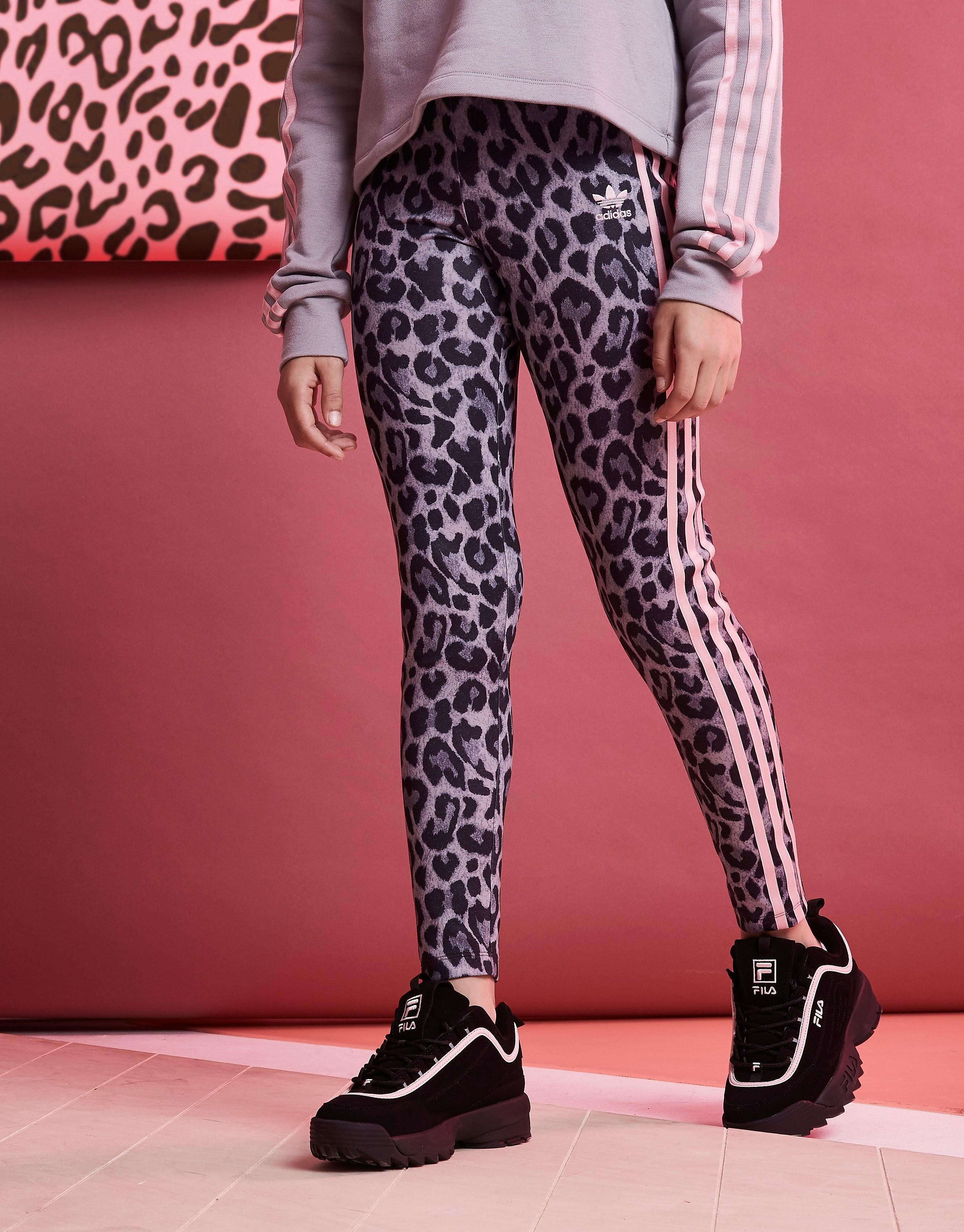 adidas Originals Girls' Leopard All Over Print Leggings Junior - Only at JD - Grau - Kids, Grau