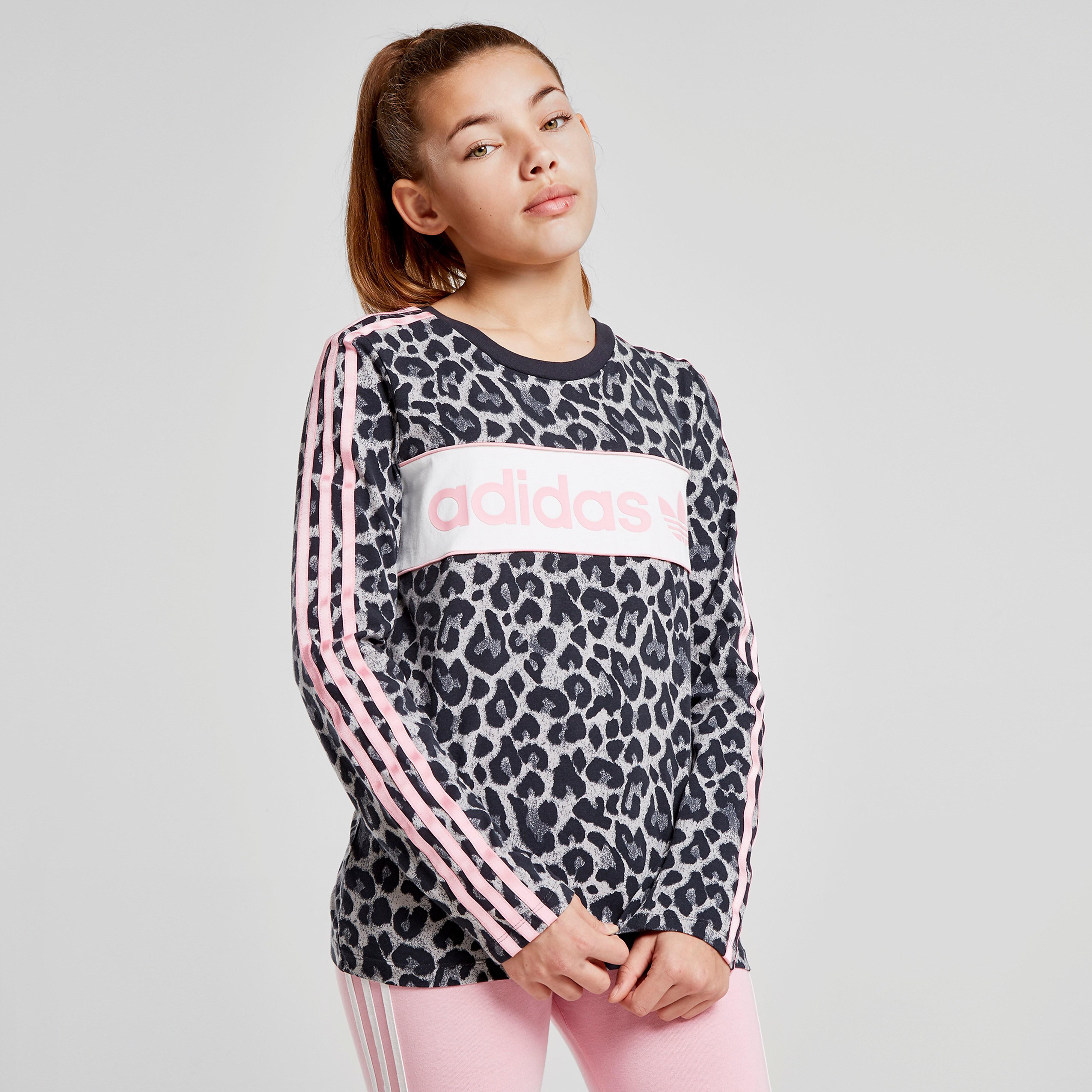 adidas Originals Girls' Long Sleeve Leopard T-Shirt Junior - alleen bij JD - Grijs - Kind