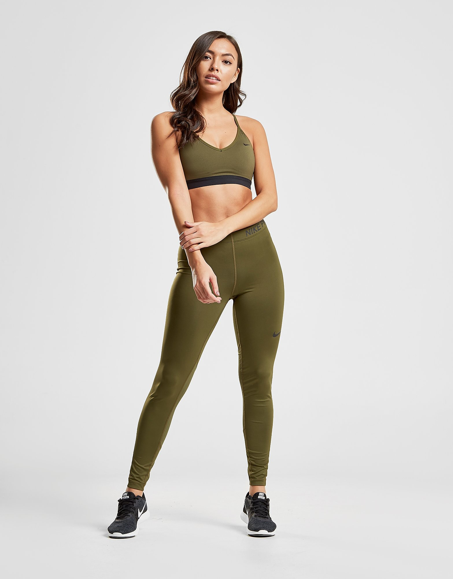 Nike Pro Training Leggings Dames - Khaki/Black - Dames