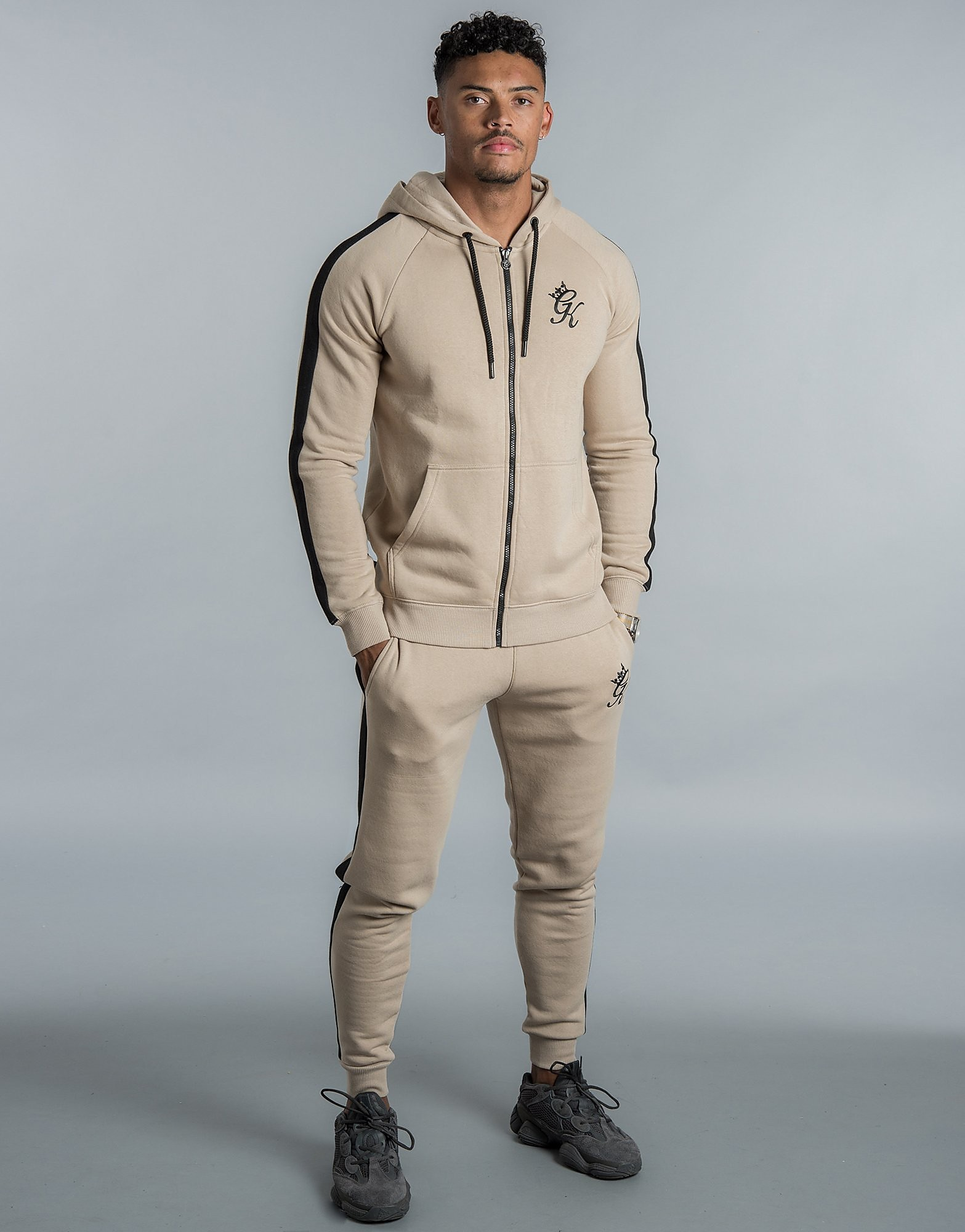 Gym King Zip Tape Fleece Hoodie - Beige - Heren
