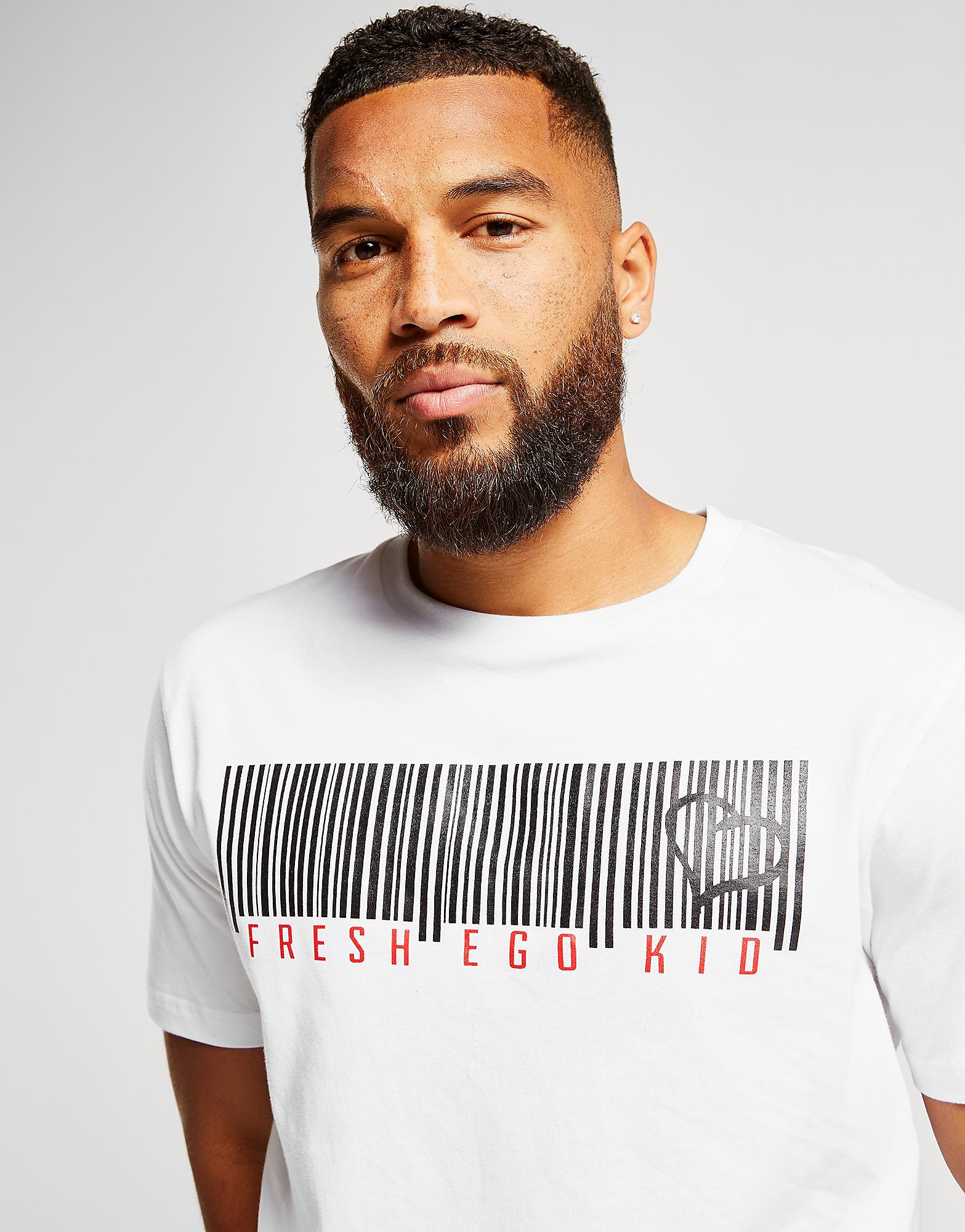 Fresh Ego Kid Barcode T-Shirt Heren - Wit - Heren