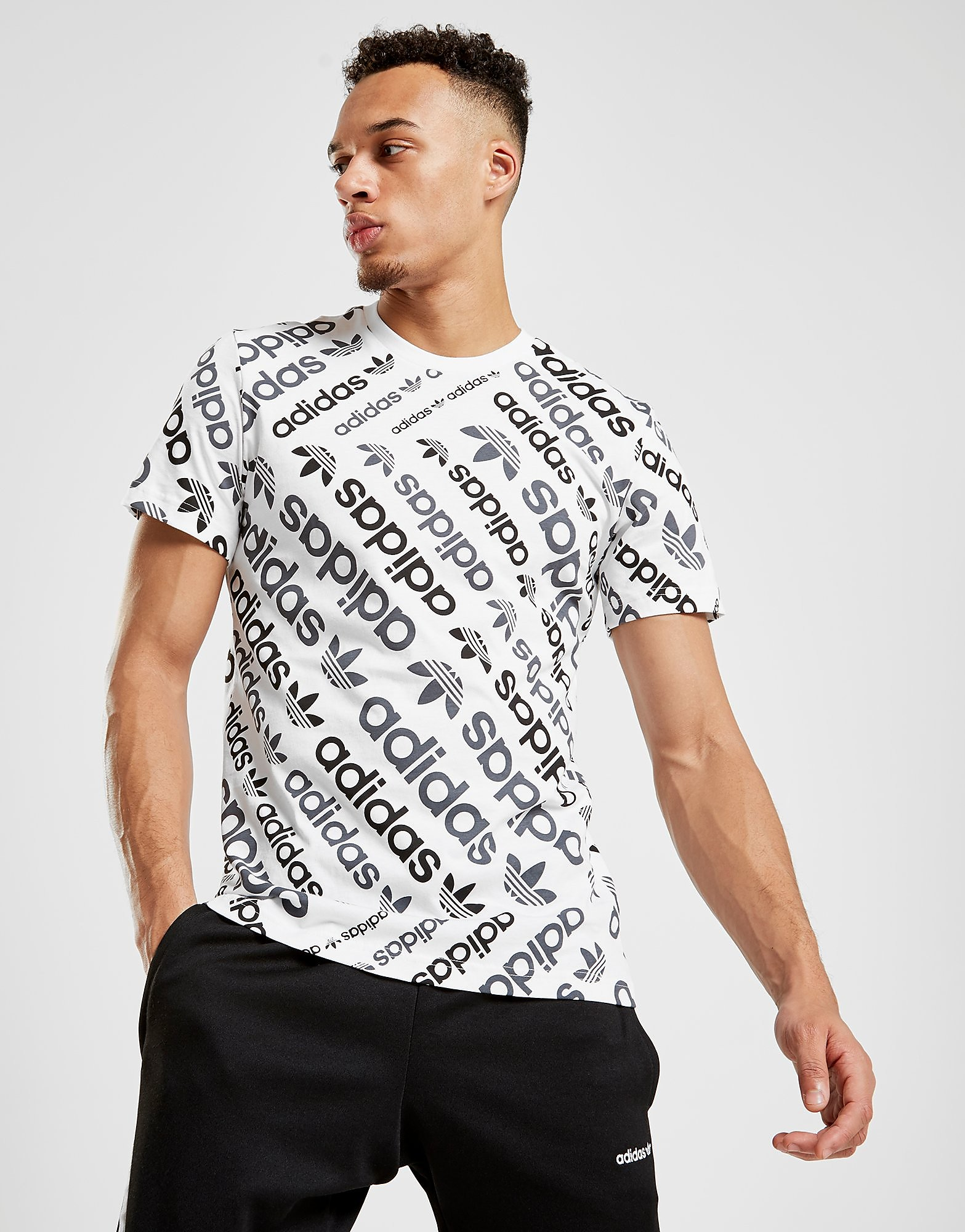 adidas Originals Trefoil All Over Print T-Shirt Heren - alleen bij JD - Wit - Heren
