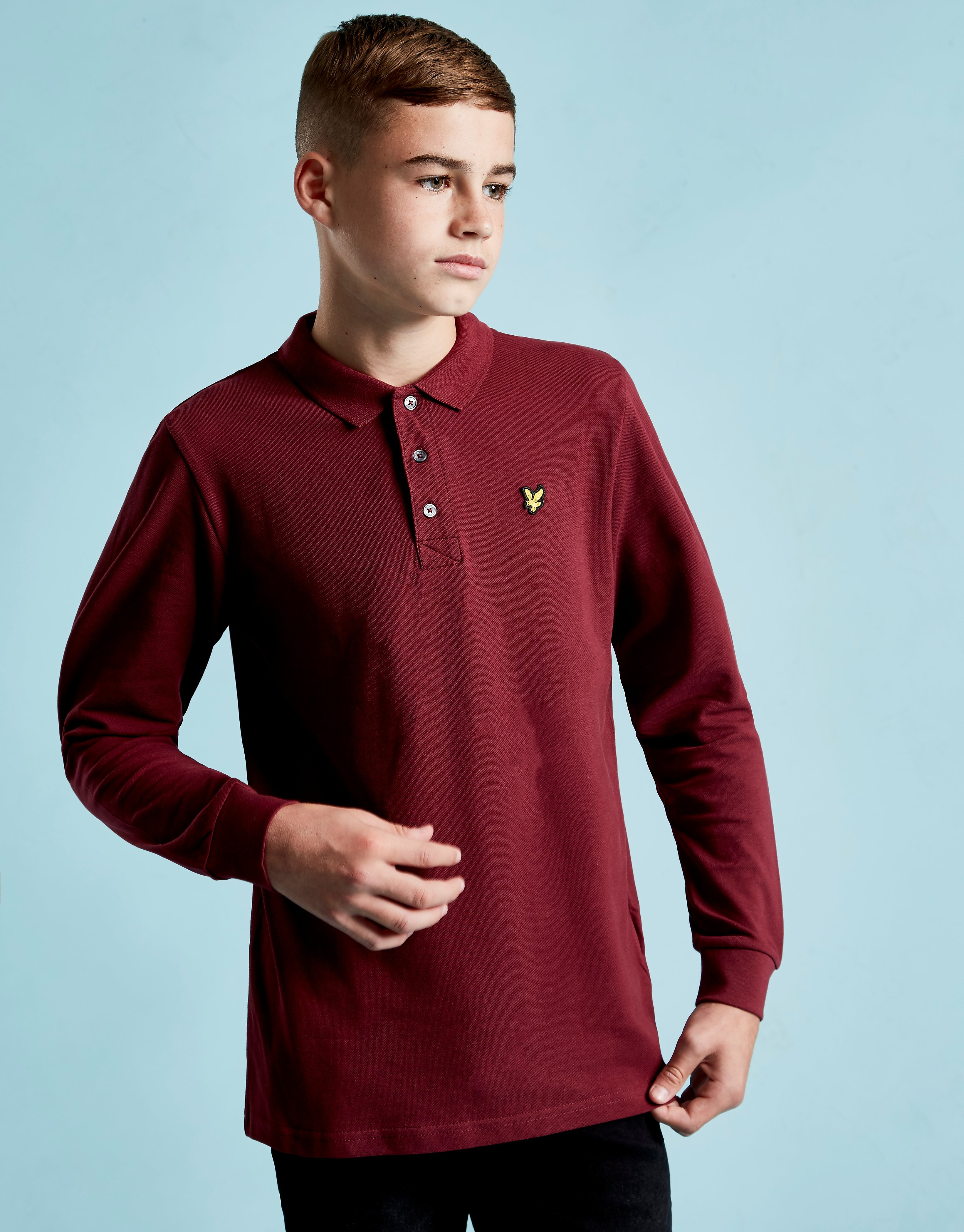 Lyle & Scott Long Sleeve Logo Polo Shirt Junior - Rood - Kind