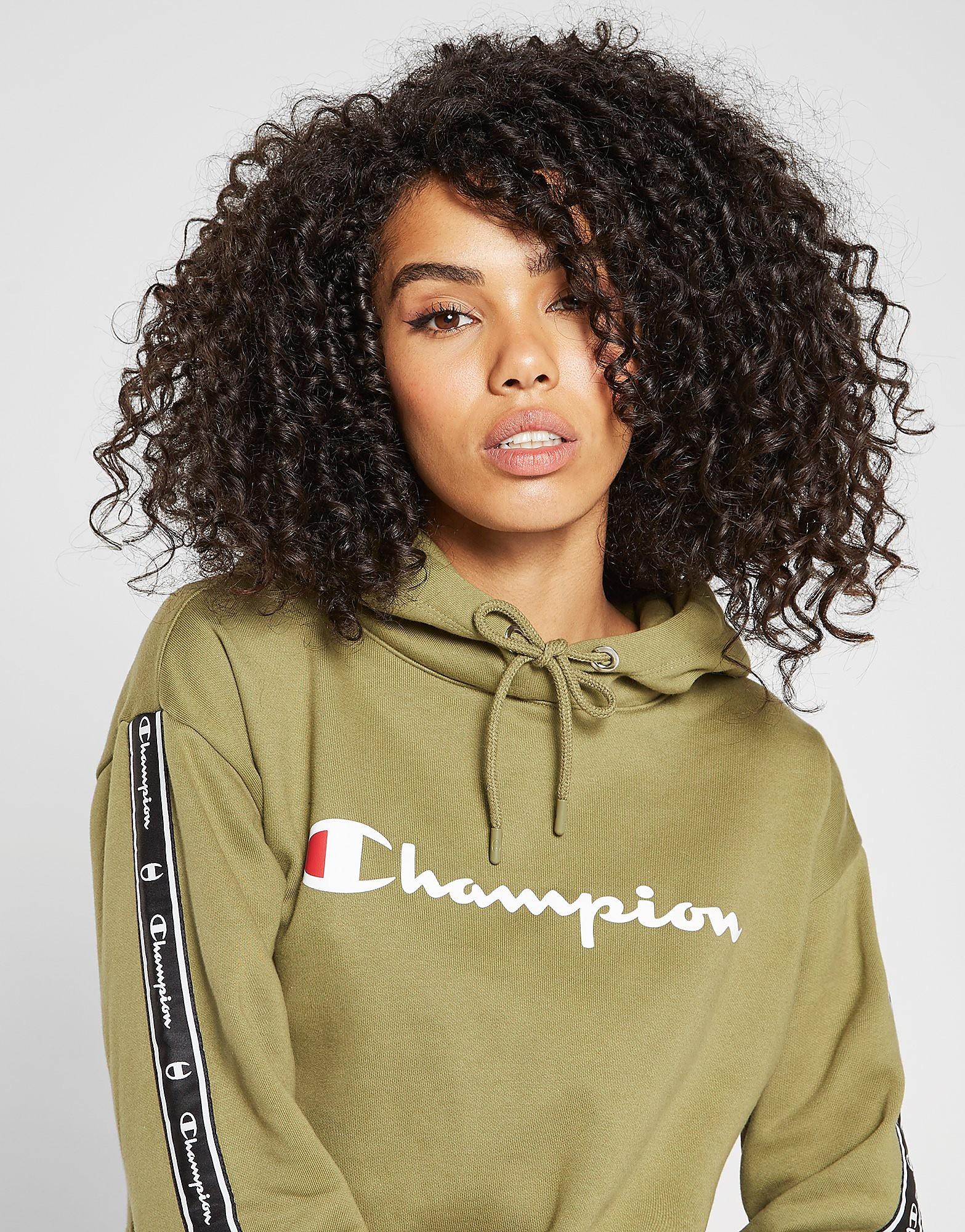 Champion Tape Crop Overhead Hoodie Dames - alleen bij JD - Khaki/White/Black - Dames