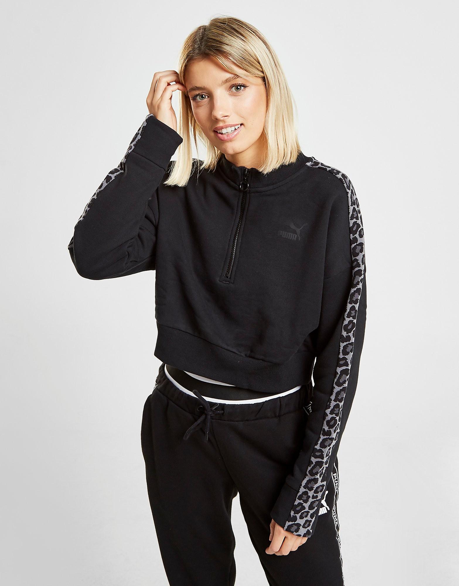 PUMA Leopard Crop 1/4 Zip Sweatshirt Dames - Zwart - Dames