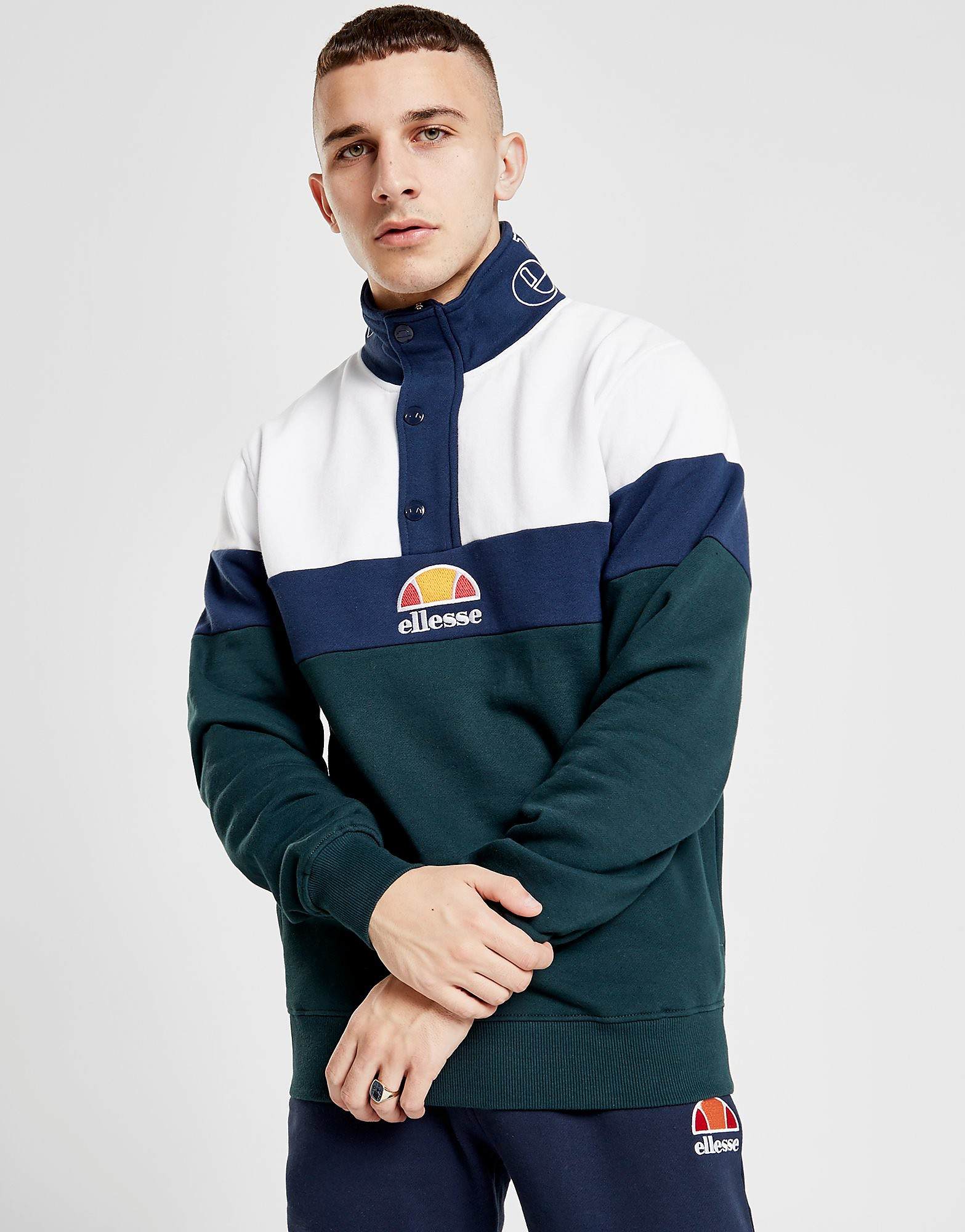 Ellesse Palvino Colour Block 1/4 Zip Track Top Heren - alleen bij JD - Groen - Heren