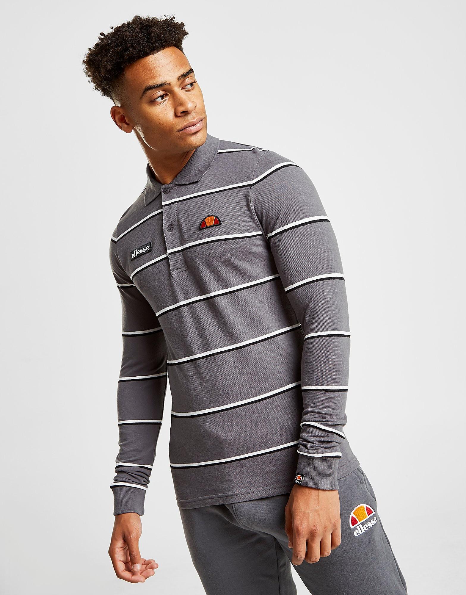 Ellesse Maffio Stripe Long Sleeve Polo Shirt - alleen bij JD - Grijs - Heren