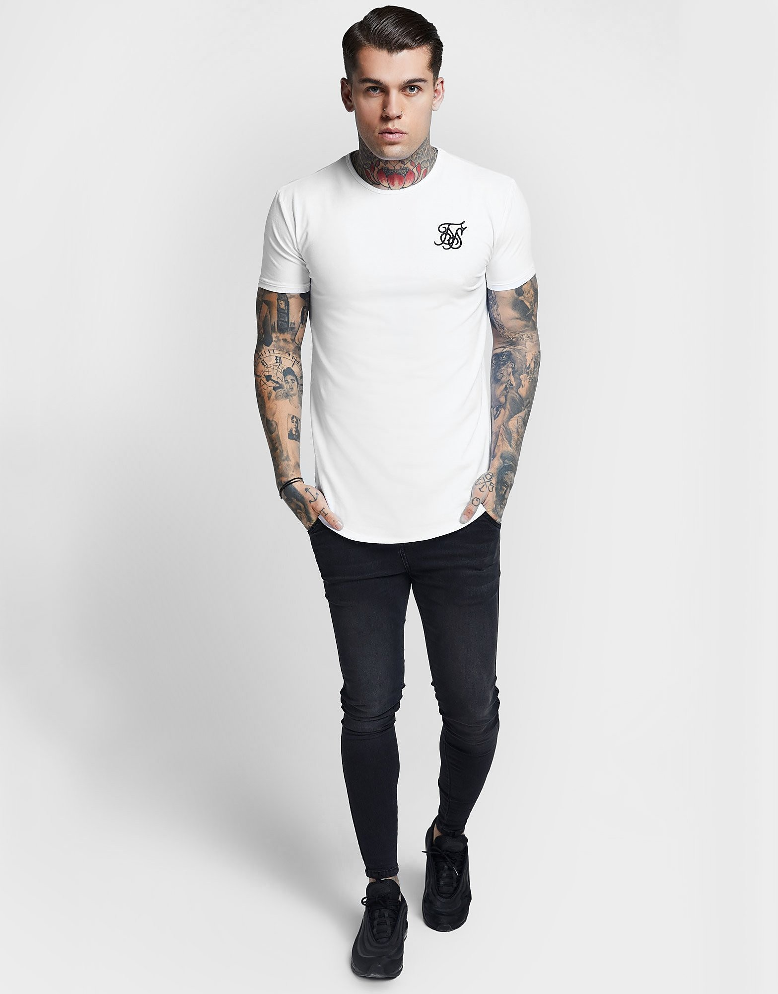 SikSilk Core Curve T-Shirt - Wit - Heren