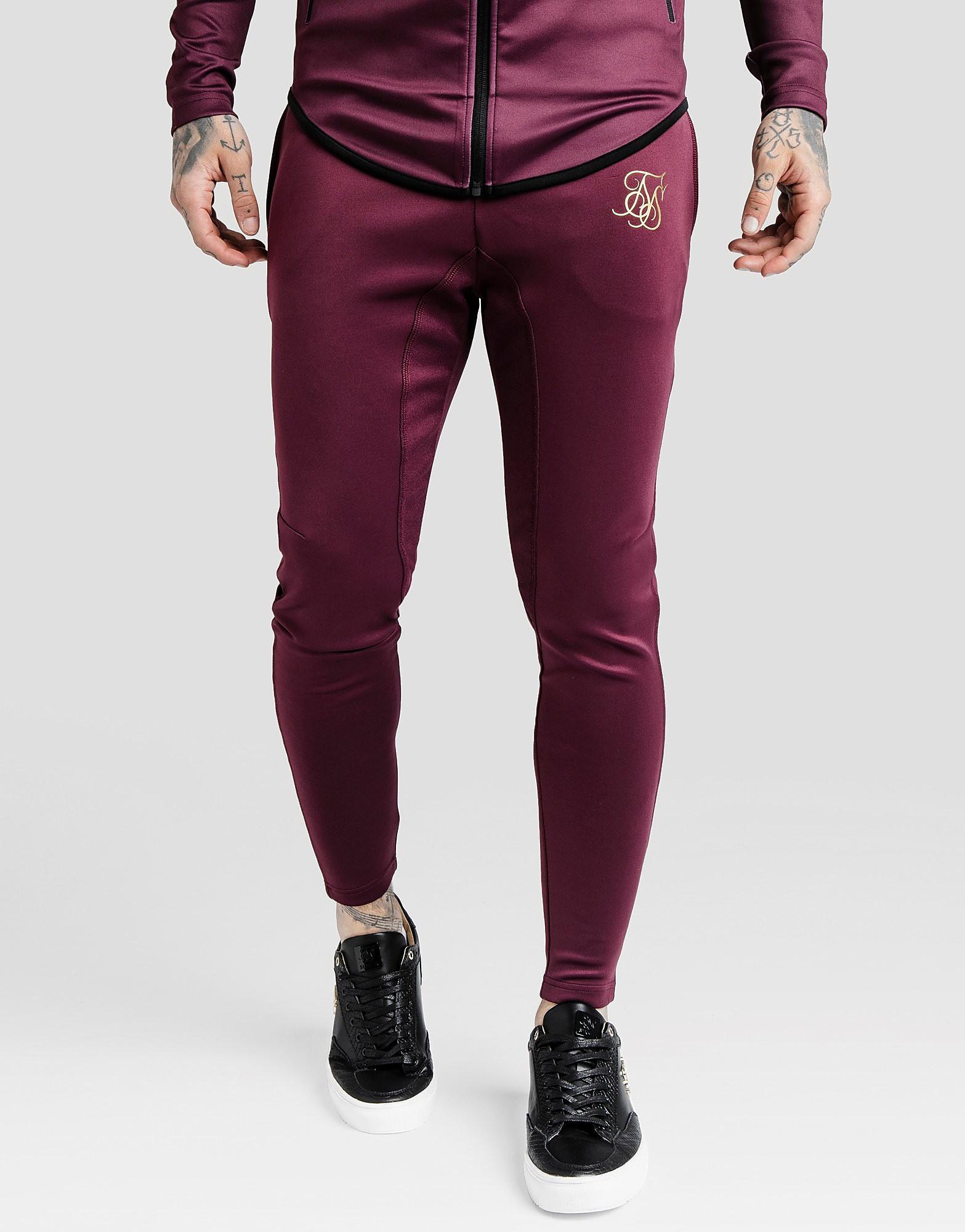 SikSilk Athlete Track Pants Heren - alleen bij JD - Burgundy/Gold - Heren