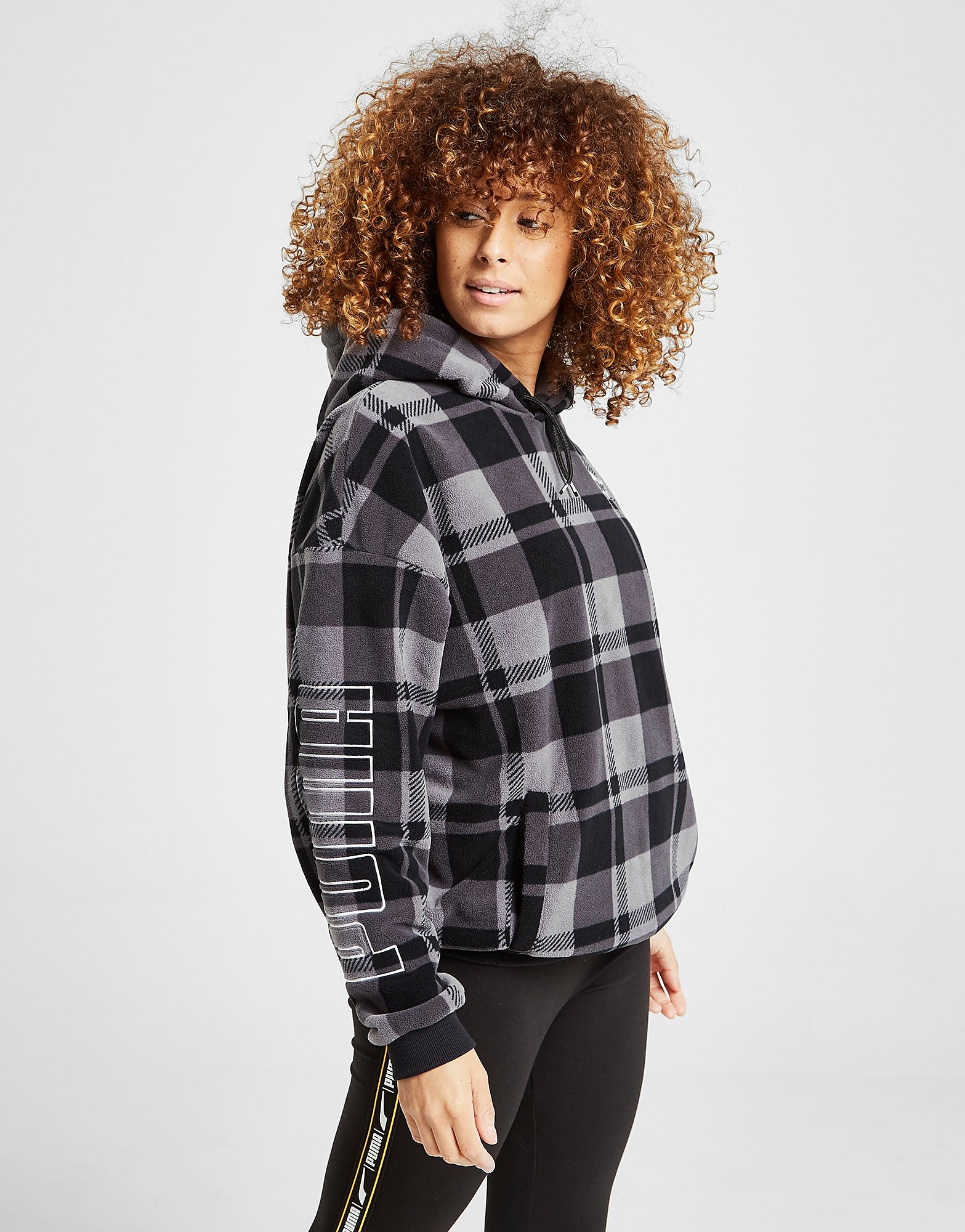PUMA Check All Over Print Sherpa Hoodie Dames - Zwart - Dames