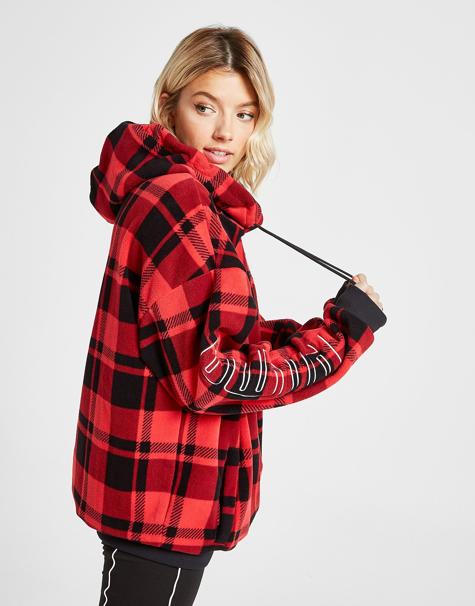 PUMA Check All Over Print Sherpa Hoodie Dames - Rood - Dames