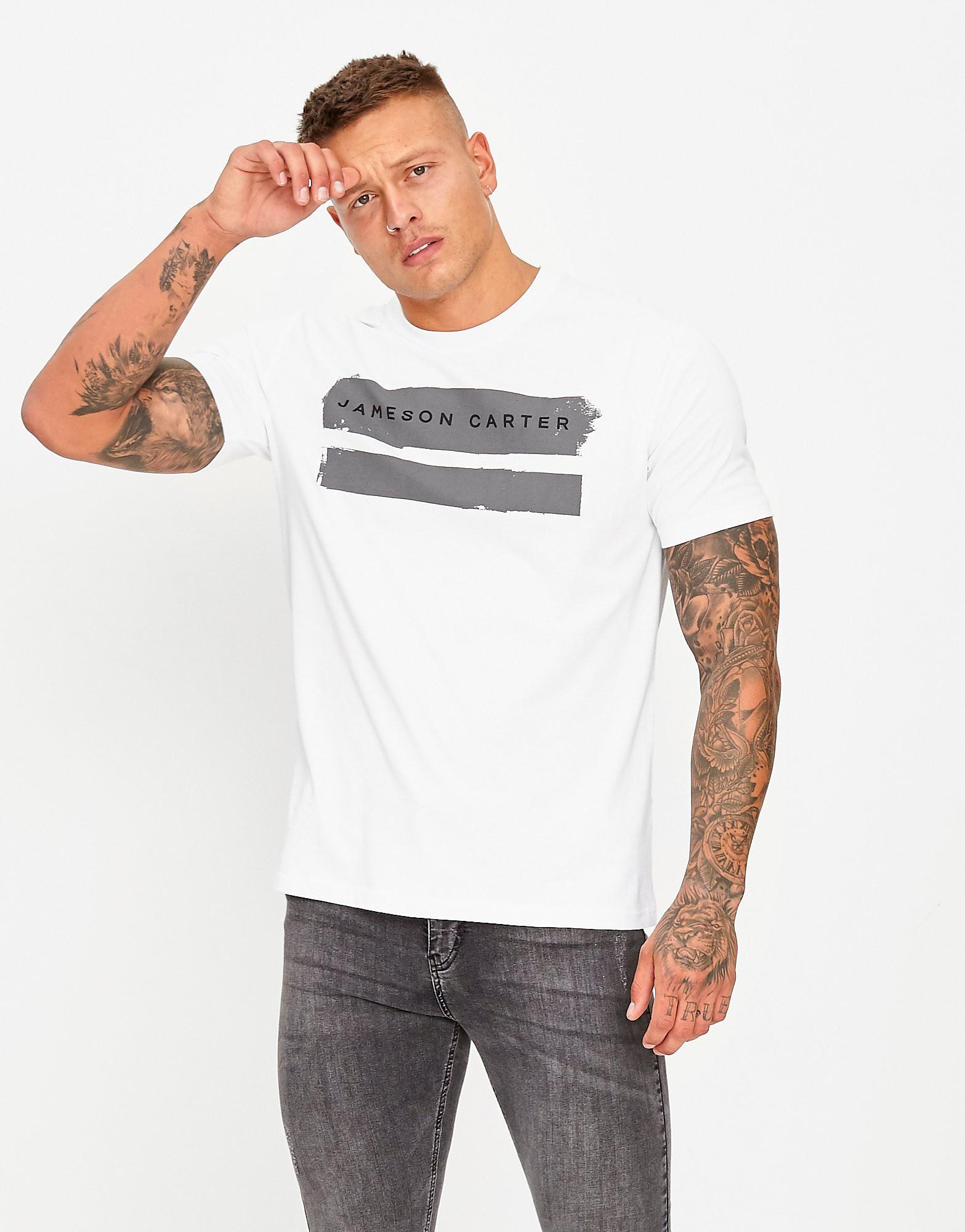 JAMESON CARTER T-shirt Paint Stripe Homme - Blanc, Blanc