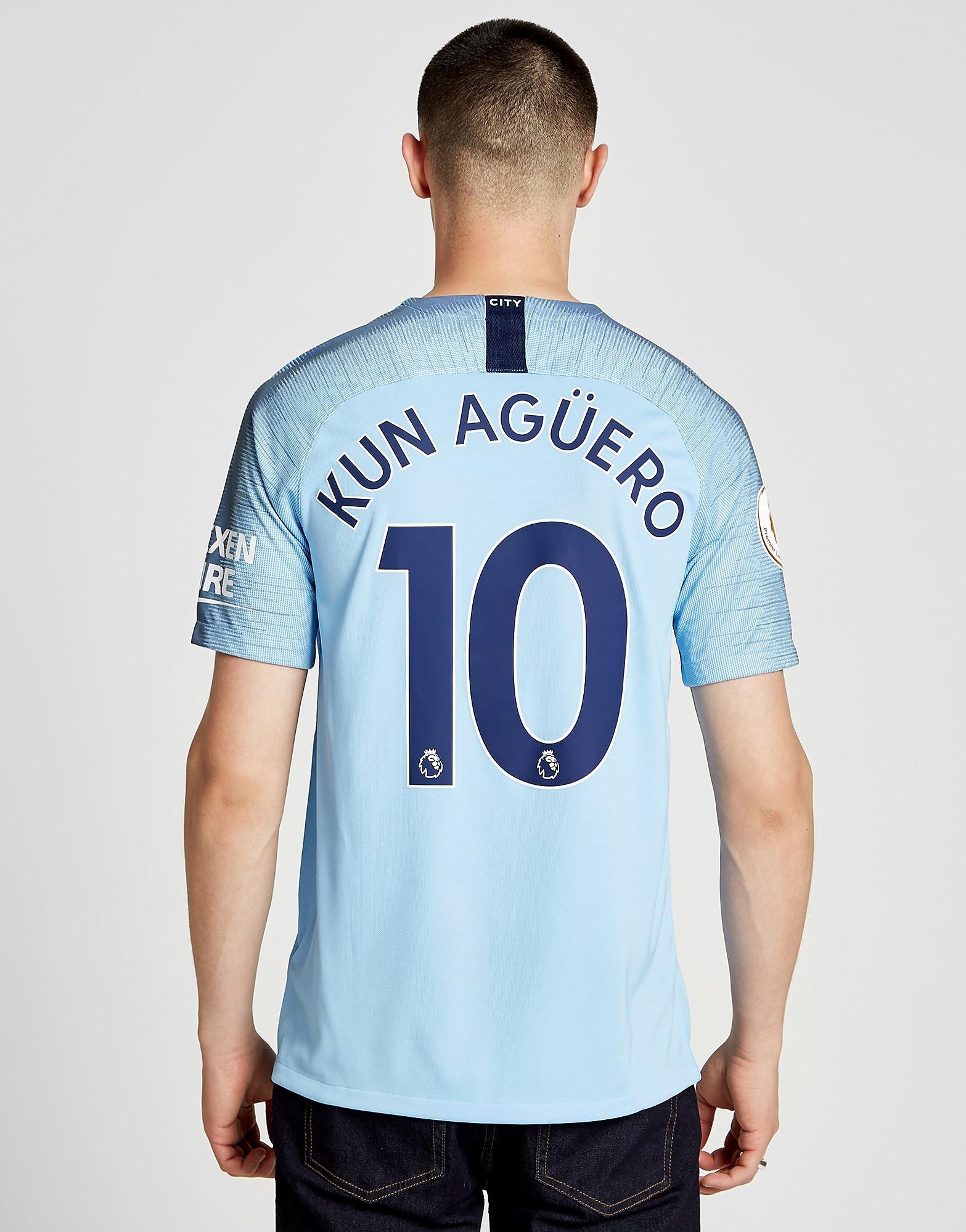 Nike Manchester City FC 2018/19 Aguero #10 Home Shirt - Blauw - Heren