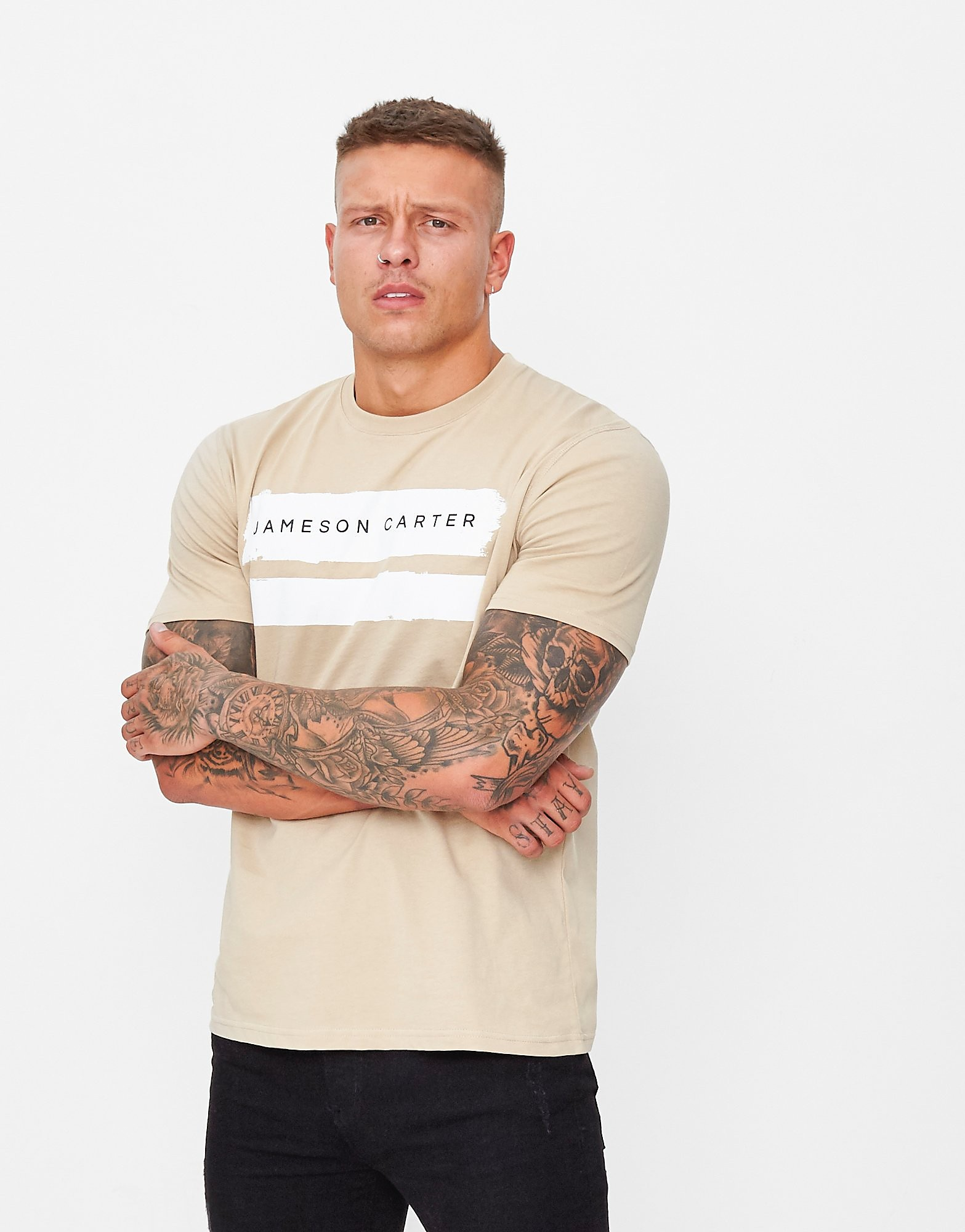 JAMESON CARTER Paint T-Shirt Heren - Stone - Heren