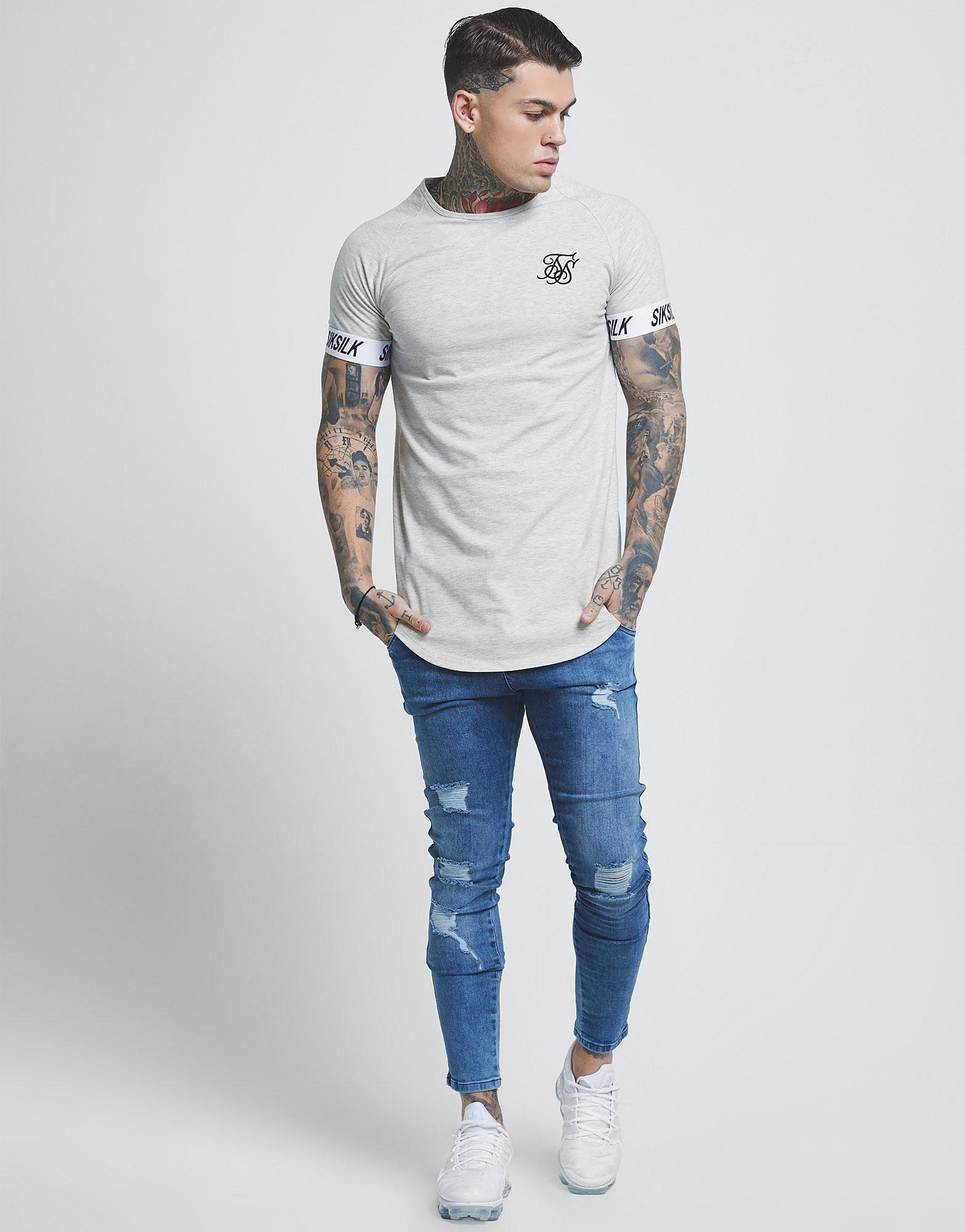 SikSilk Short Sleeve Raglan Tech T-Shirt - Grijs - Heren
