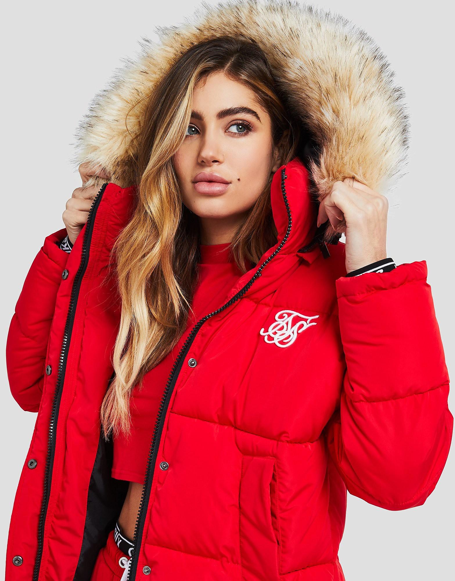 SikSilk Fur Hood Padded Jacket - alleen bij JD - Rood - Dames