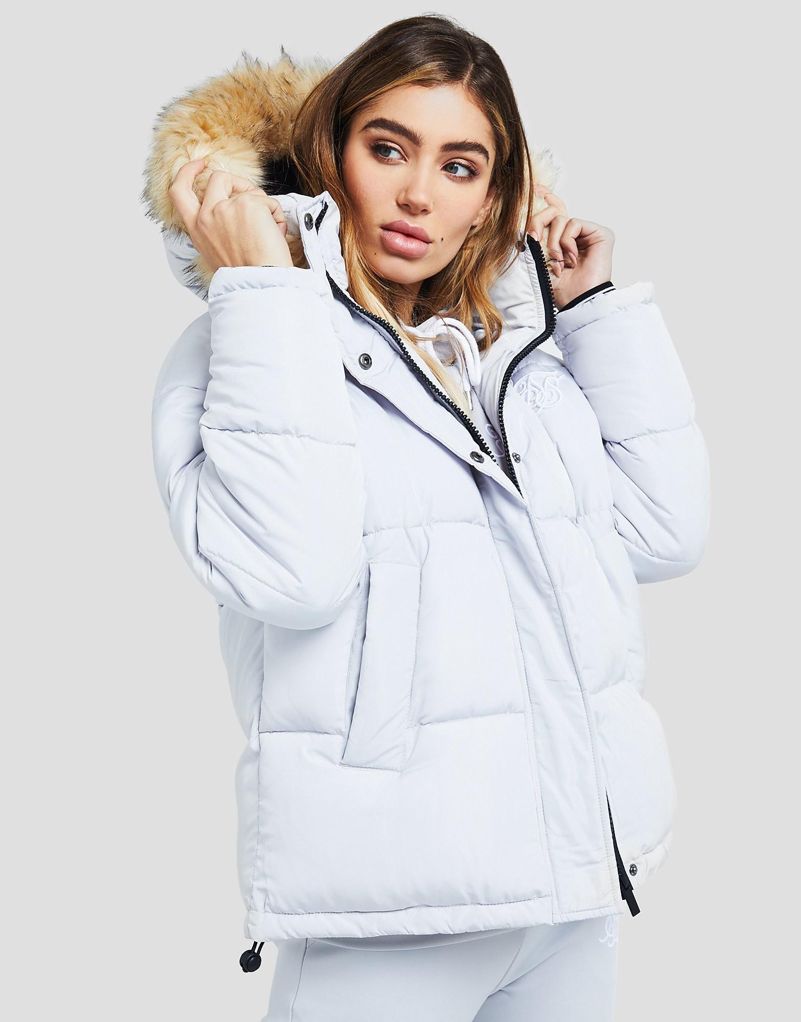 SikSilk Fur Hood Padded Jacket - alleen bij JD - Grijs - Dames