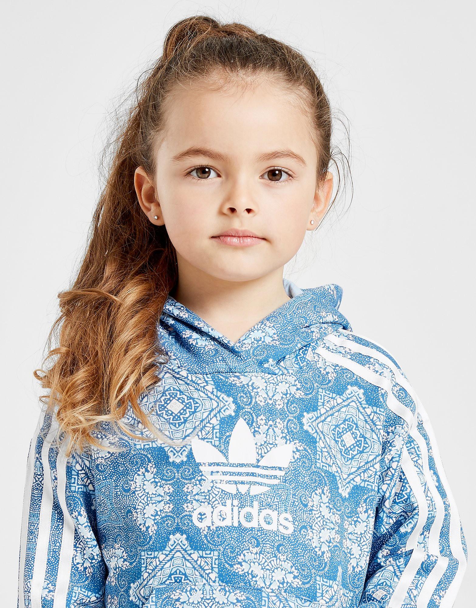 adidas Originals Girls' All Over Print Crop Hoodie Children - Blauw - Kind