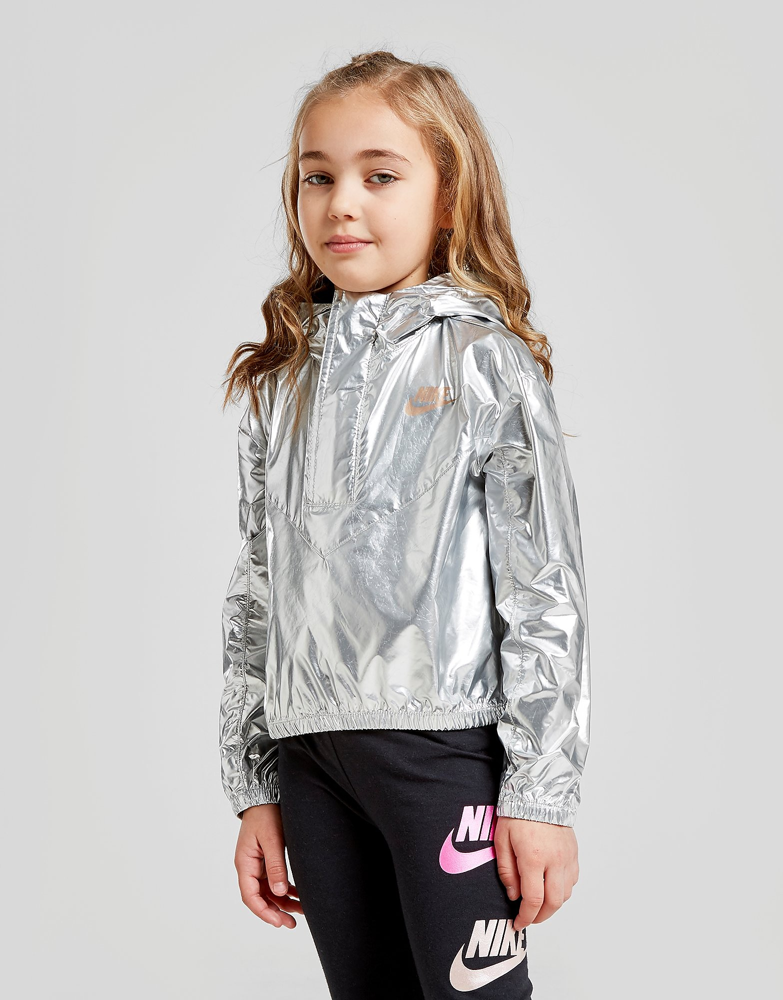 Nike Girls' Shine Metallic Jacket Kinderen - Zilver - Kind