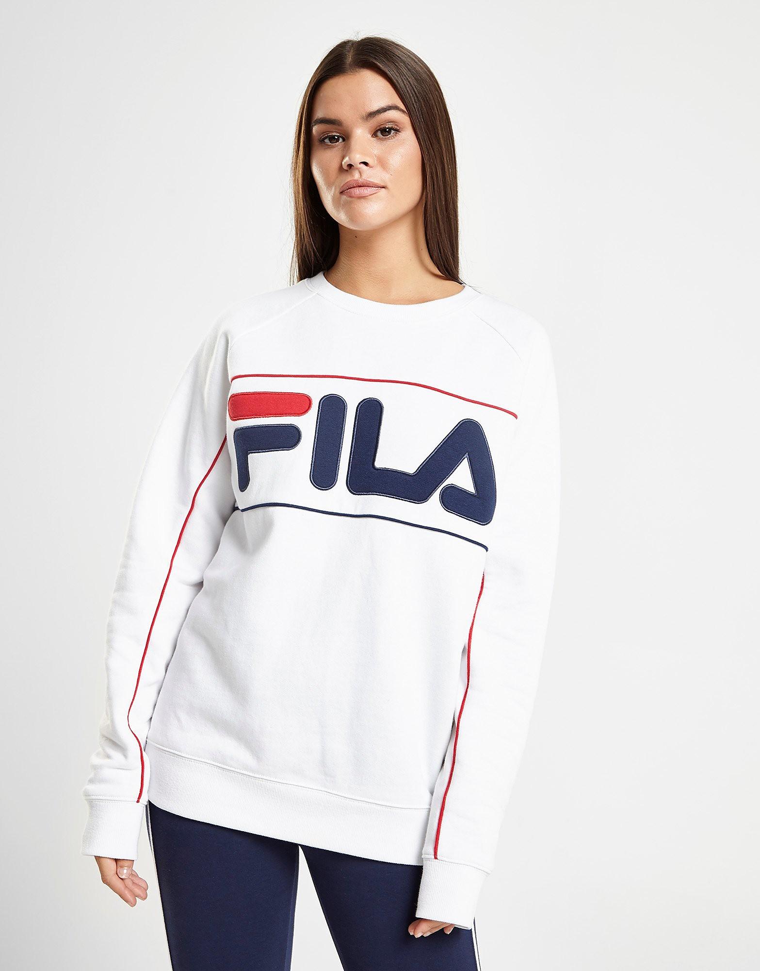Fila Piping Logo Crew Sweatshirt Dames - alleen bij JD - Wit - Dames