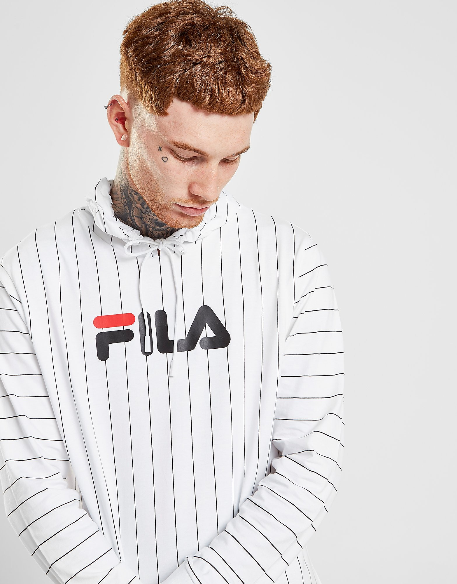 Fila Mario Long Sleeve T-Shirt - Wit - Heren