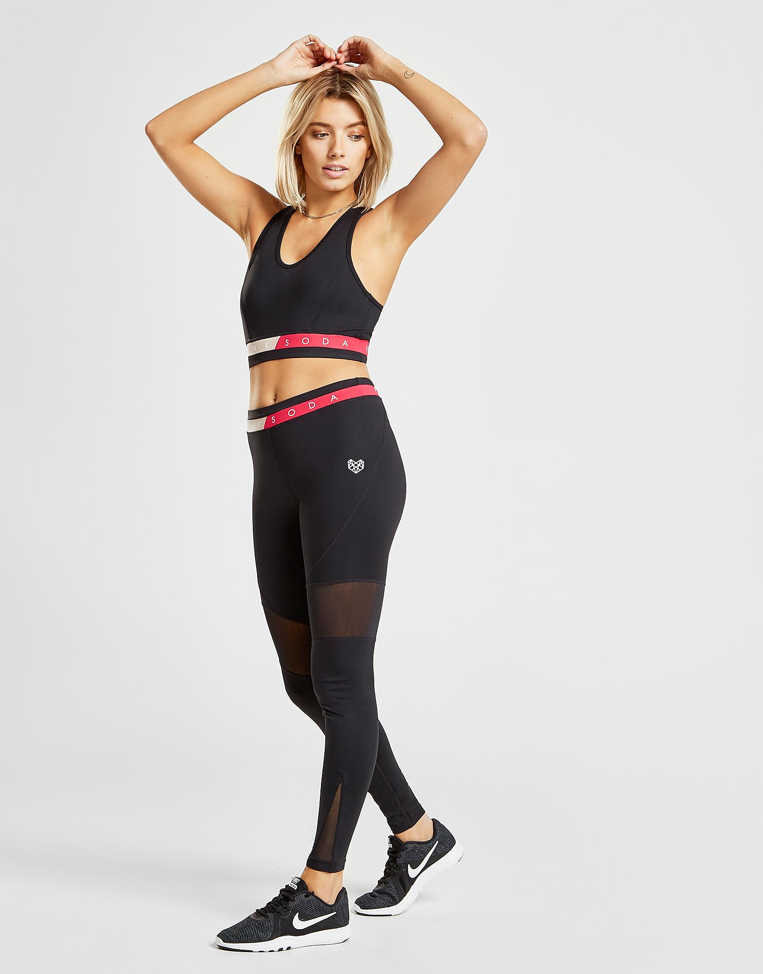 Pink Soda Sport Mesh Fitness Tights - Only at JD - Schwarz - Womens, Schwarz