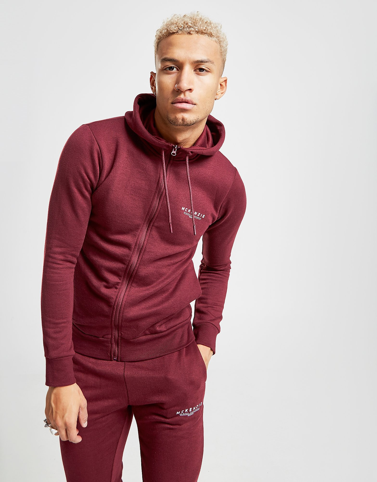McKenzie Essential Zip Through Hoodie - alleen bij JD - Burgundy - Heren