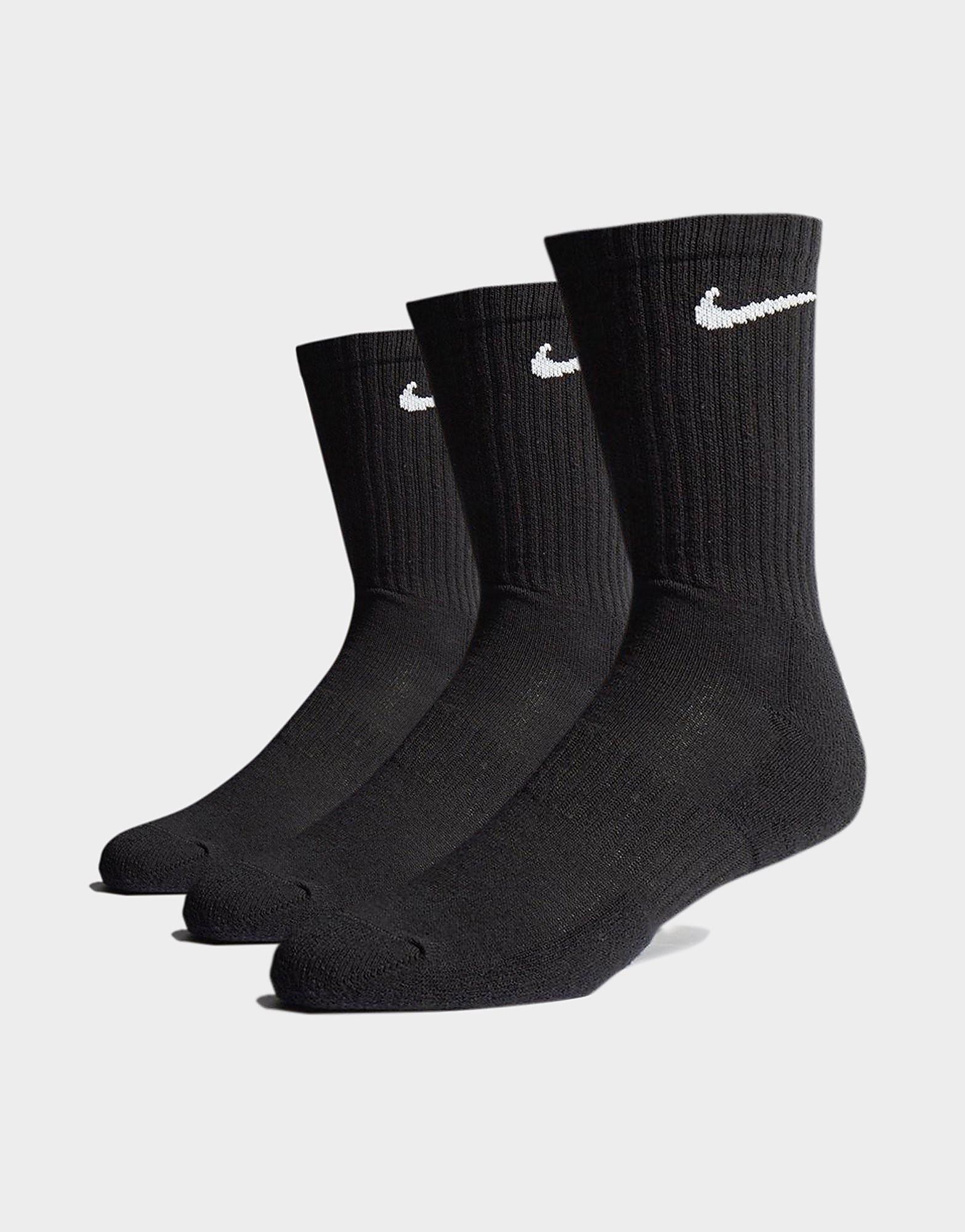 Nike 3 Pack Cushioned Crew Socks Zwart Heren