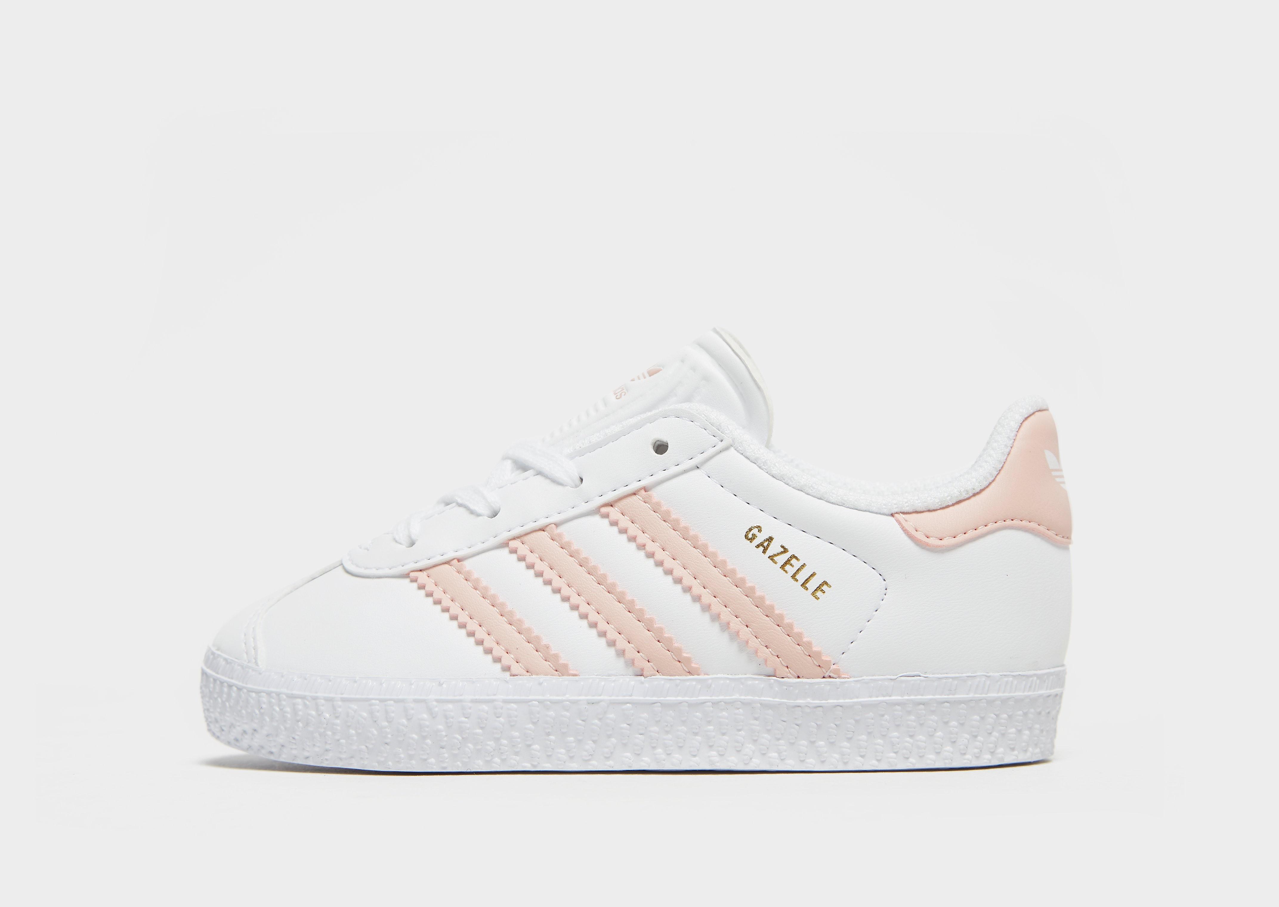 Adidas Gazelle babysneaker wit, roze en goud