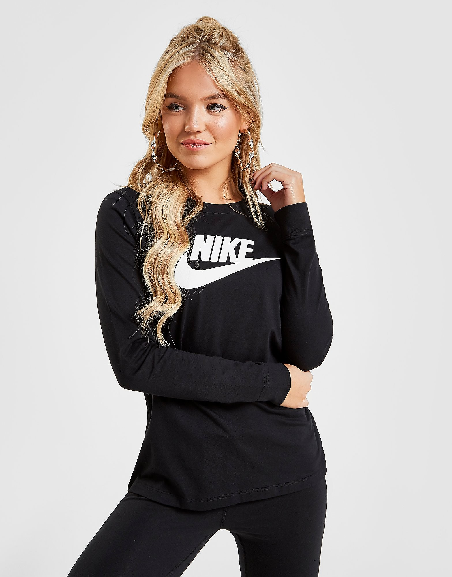 Nike Essential Futura Long Sleeve T-Shirt - Zwart - Dames