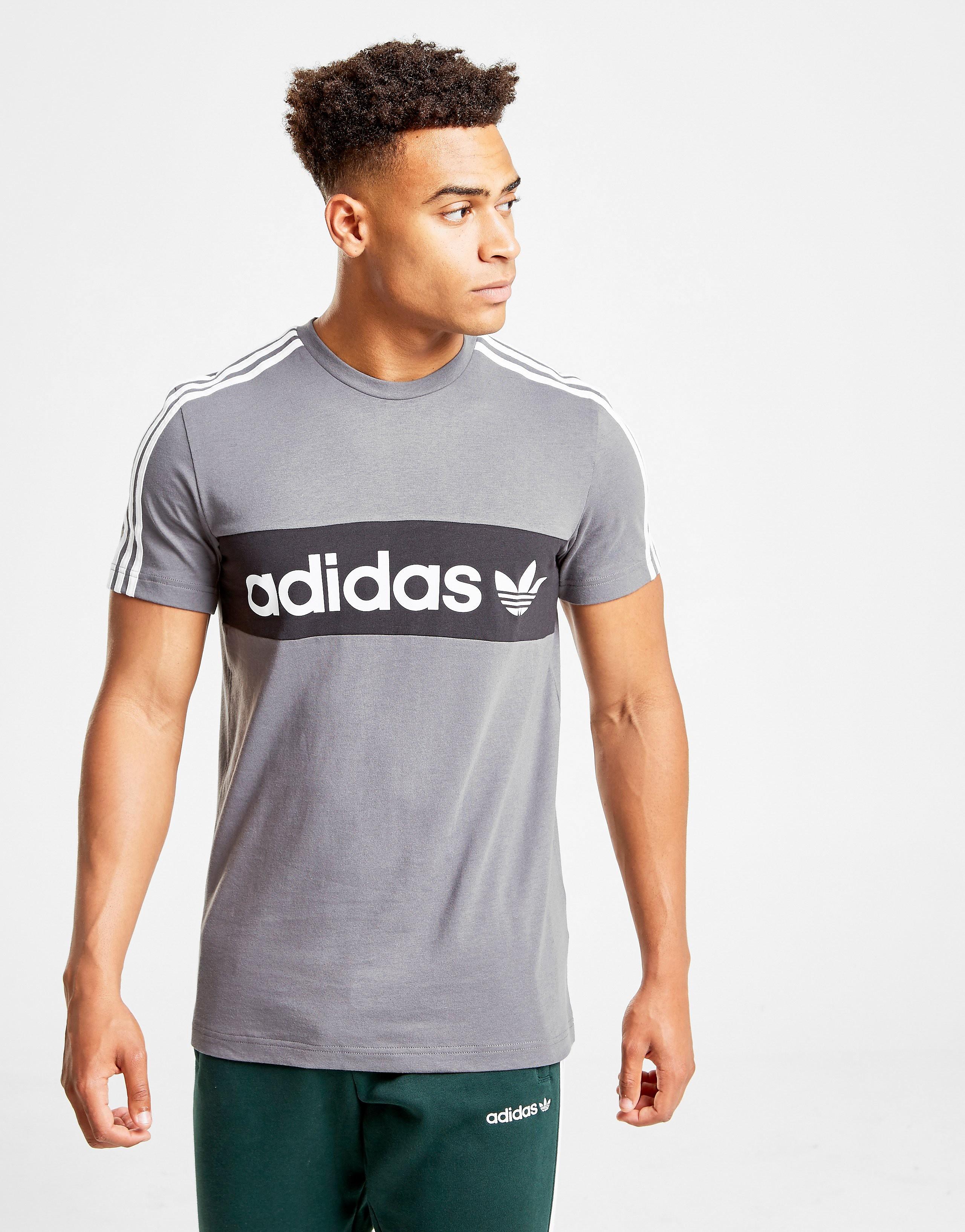 adidas Originals Trefoil Linear T-Shirt Heren - alleen bij JD - Grijs - Heren
