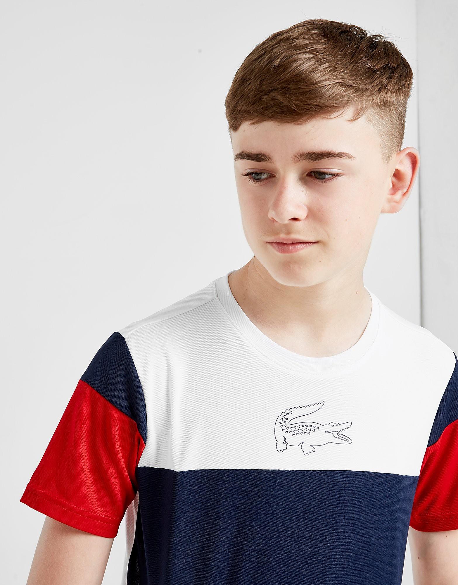 Lacoste Colour Block Poly T-Shirt Junior Blauw Kind